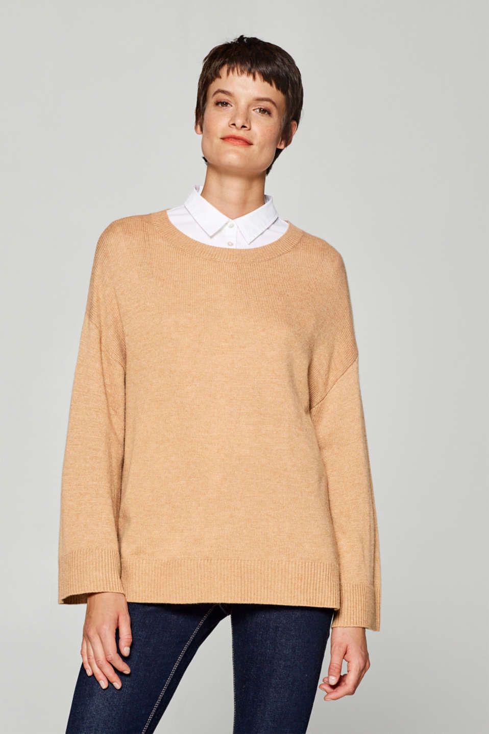 Esprit - With cashmere: Oversized jumper