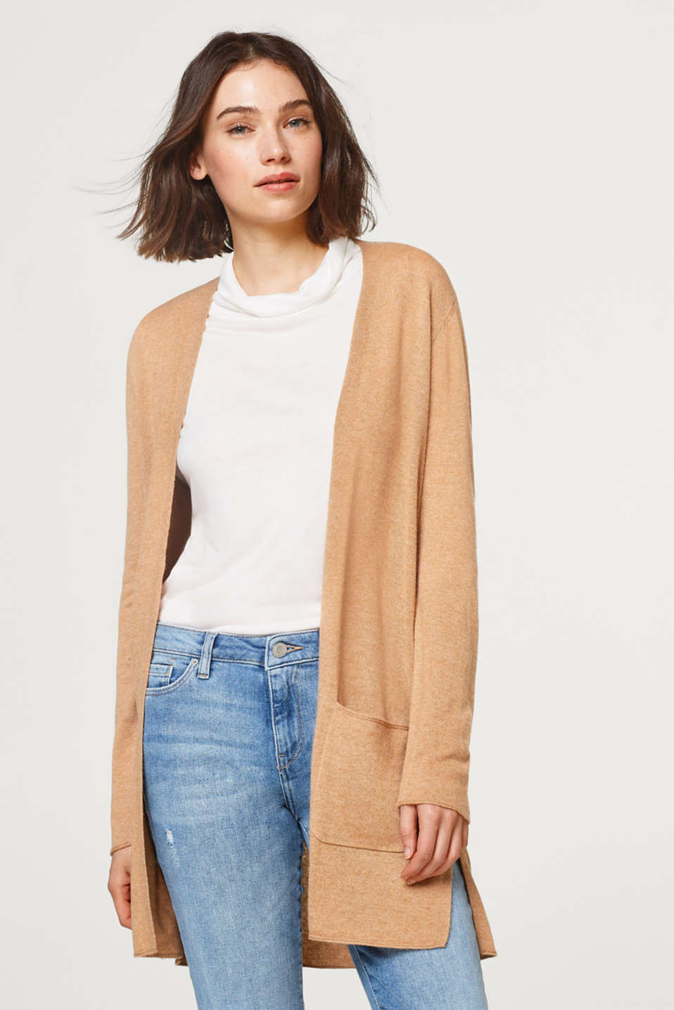 Esprit - With cashmere: open, fine knit cardigan