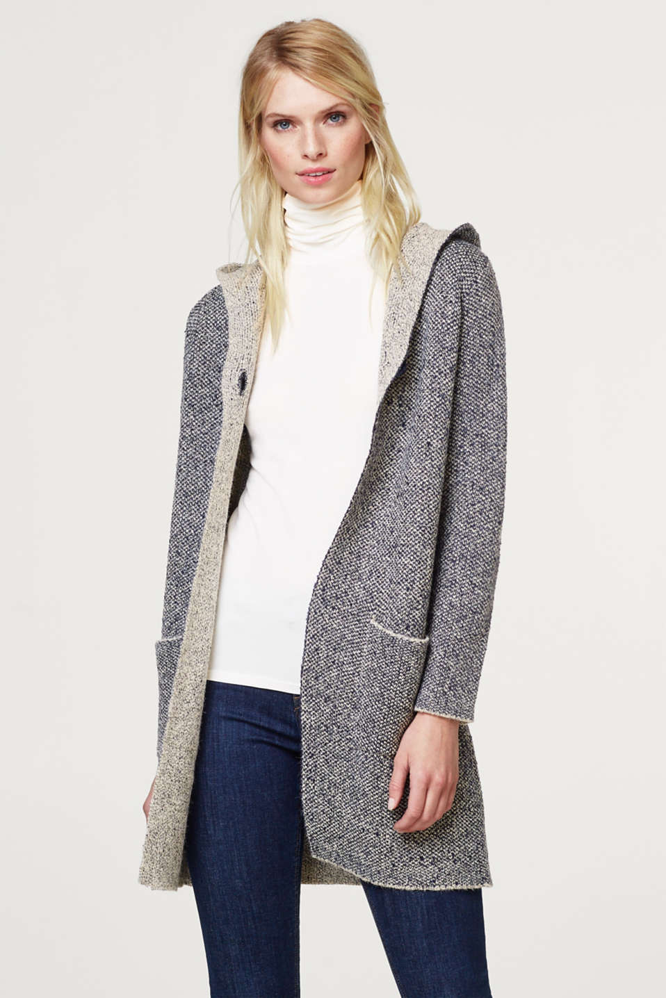 Esprit - Long cardigan with a hood