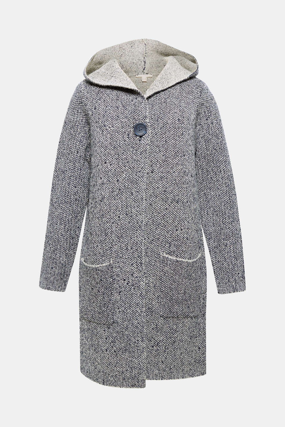 This textured long cardigan with a wide hood and double-faced look will keep you nice and warm on cool days!