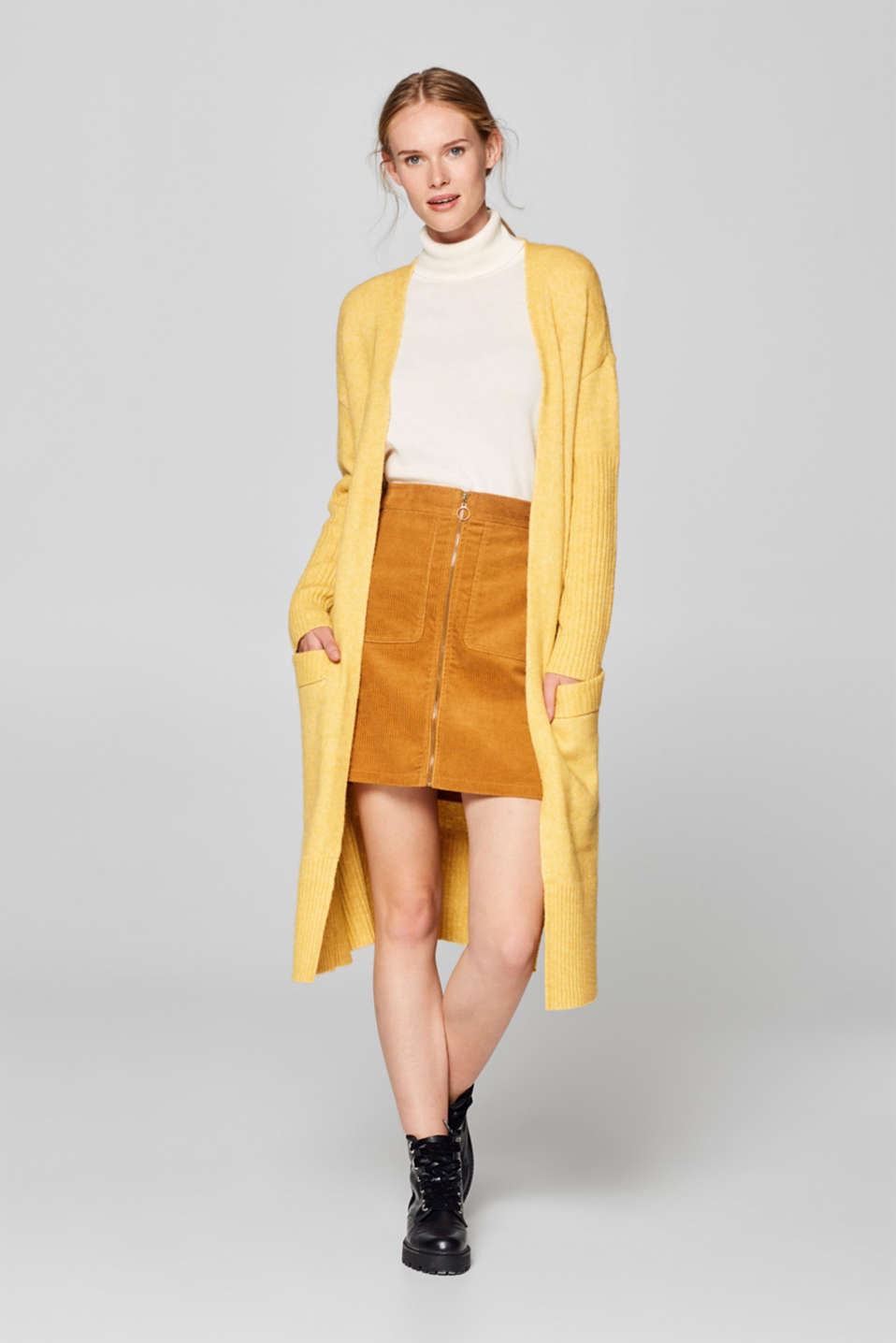 Esprit - With wool: long cardigan with ribbed details