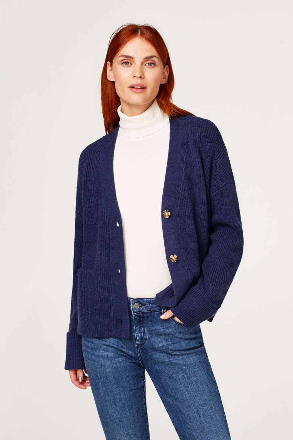 Esprit - Rib knit cardigan with pockets