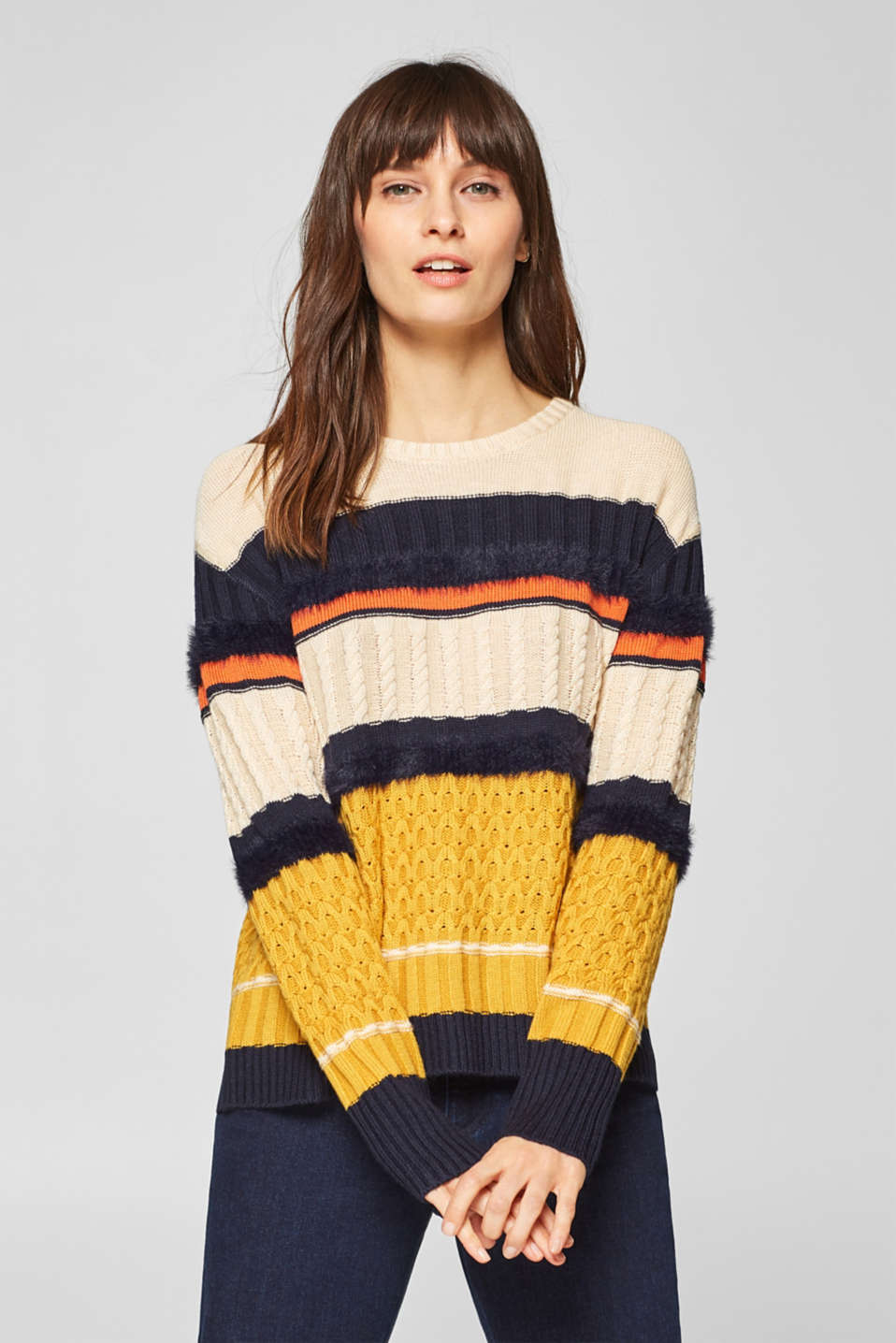 Esprit - Wool blend: jumper trimmed with faux fur