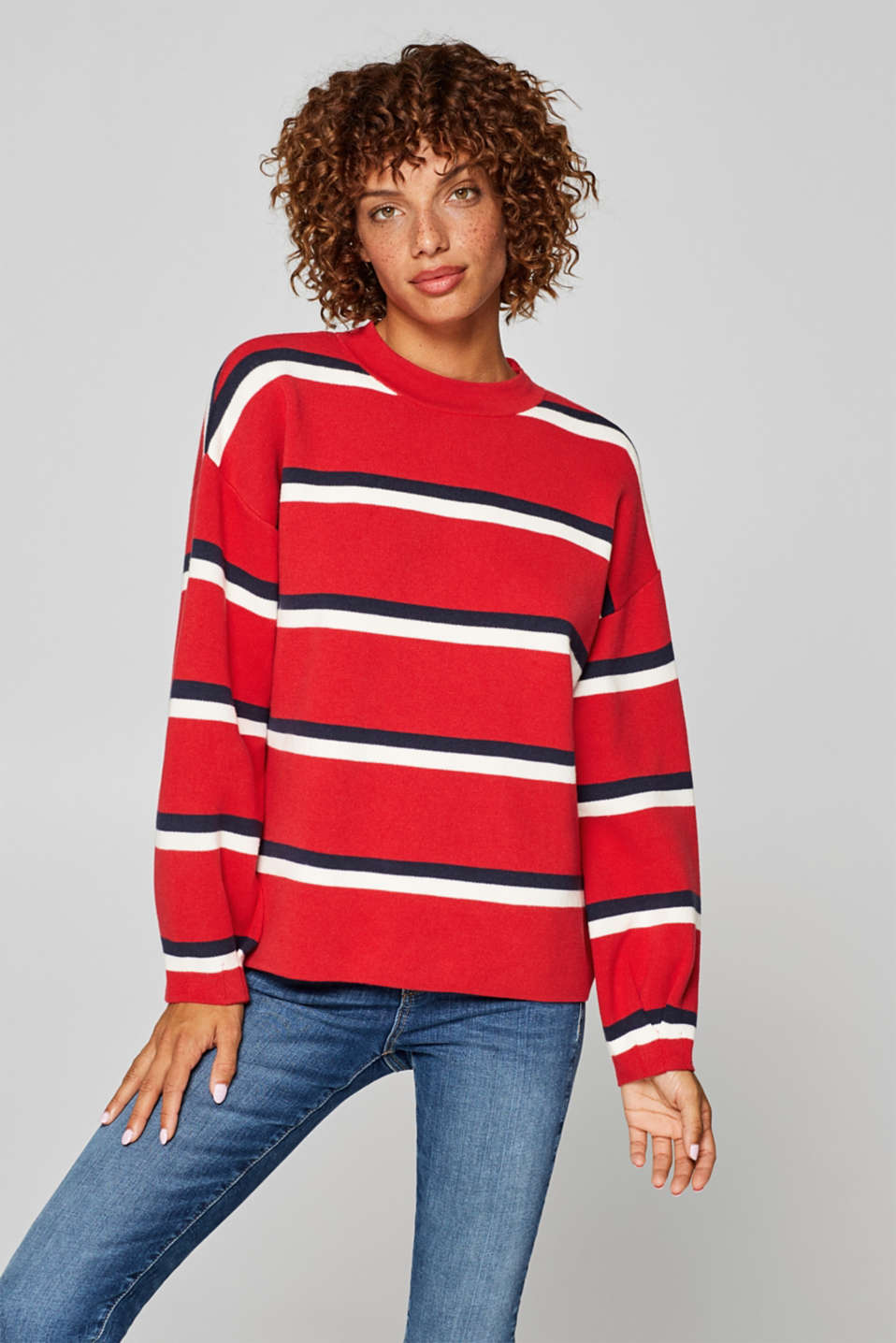 Esprit - Compact jumper with pleated sleeves
