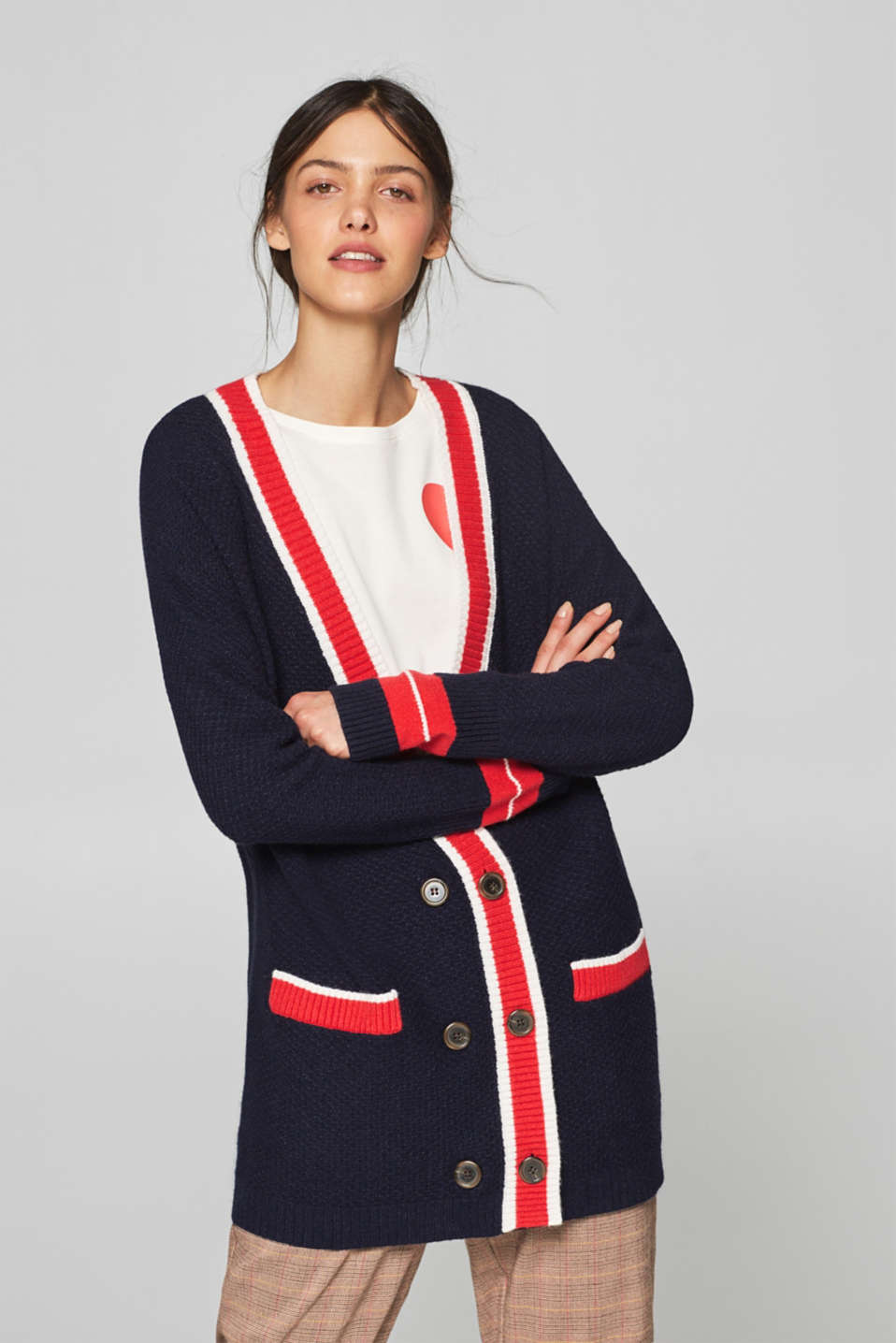 Esprit - Long cardigan in a college style