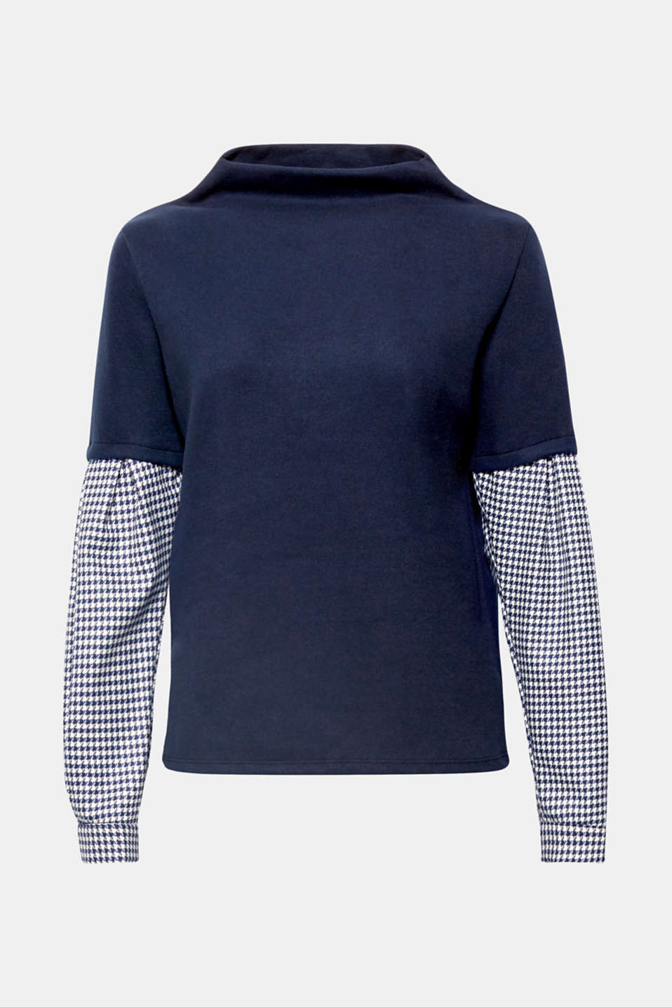 Long sleeve top in a new look:  This one comes in a trendy 2-in-1 style with set-in patterned sleeves and a wide turtleneck collar.