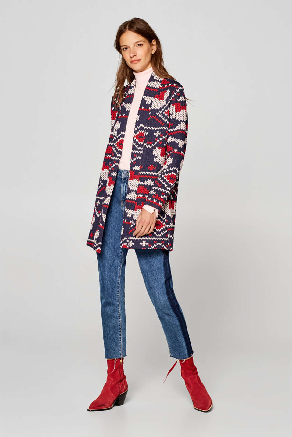 Open jacquard coat made from stretch jersey