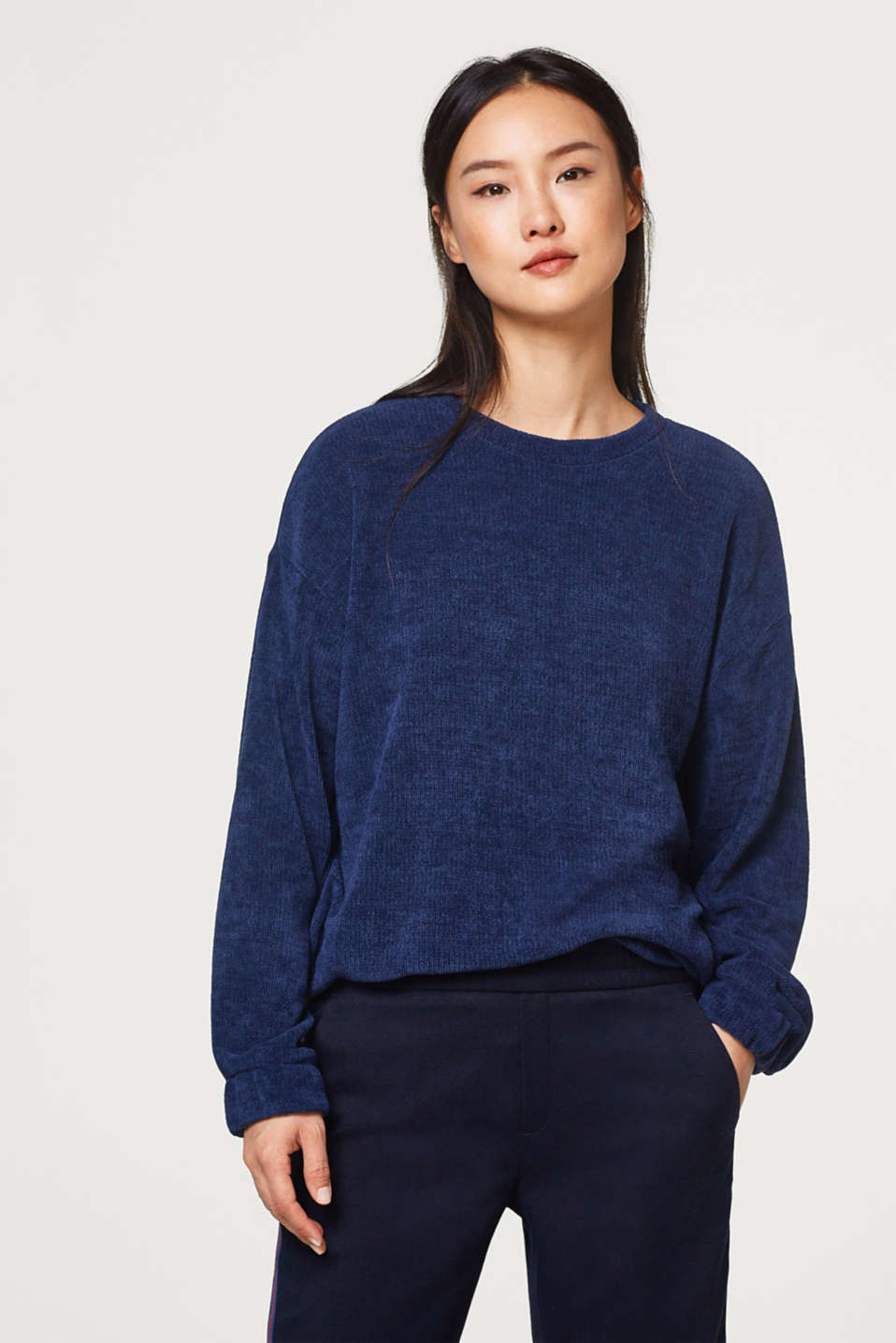 Esprit - Chenille sweater with stretchy cuffs