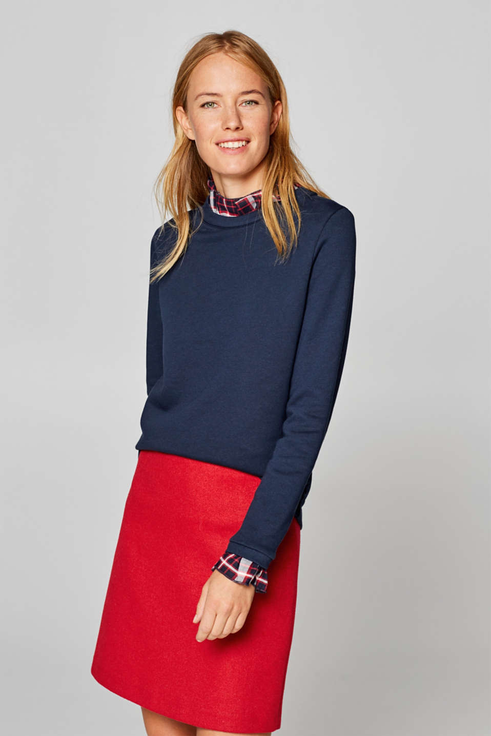 Esprit - Sweatshirt with checked fabric details