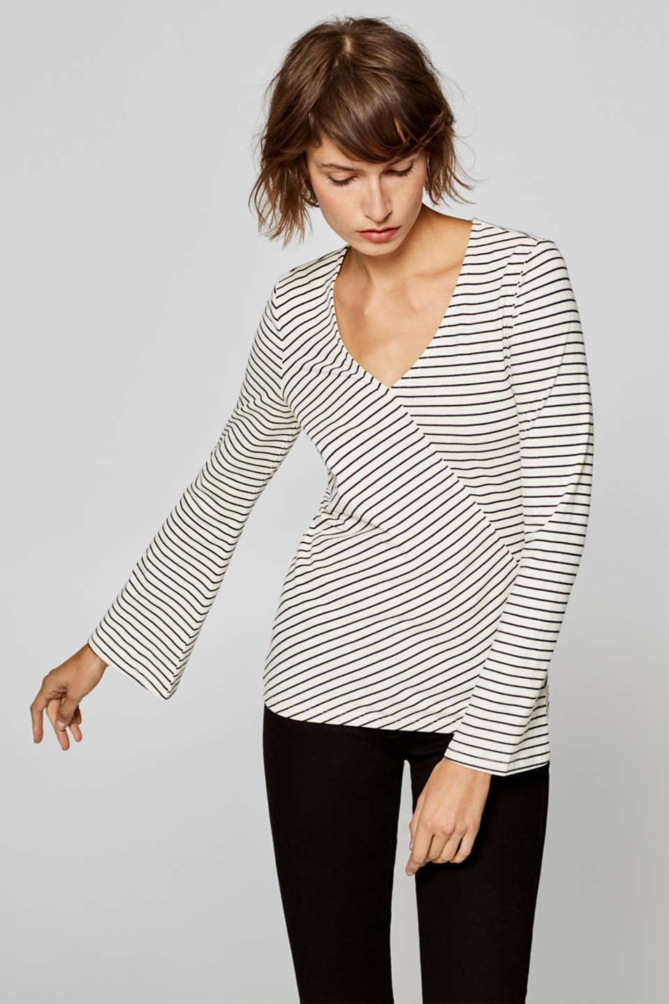 Esprit - Stretch long sleeve top in a wrap-over look