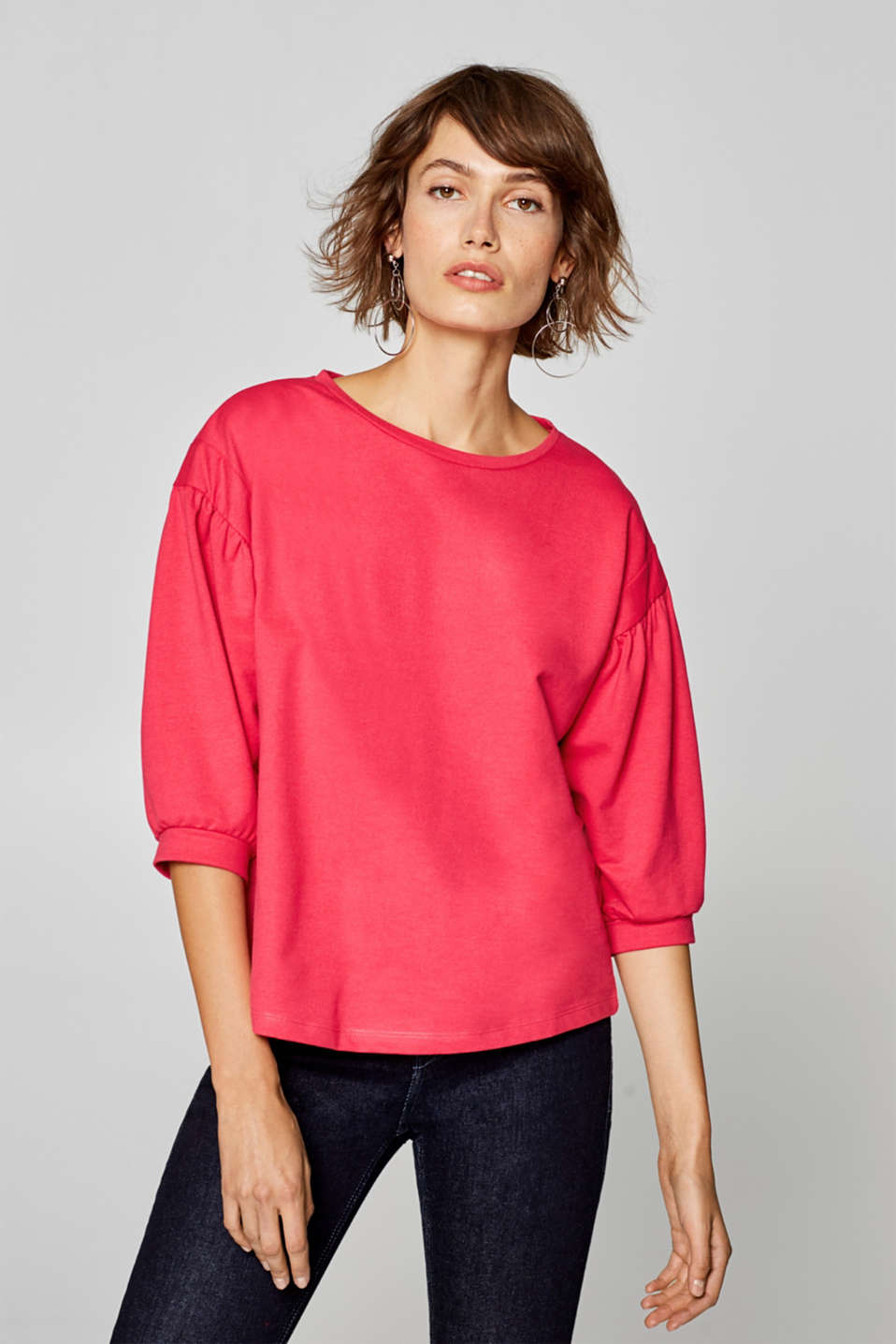 Esprit - Top with cropped balloon sleeves