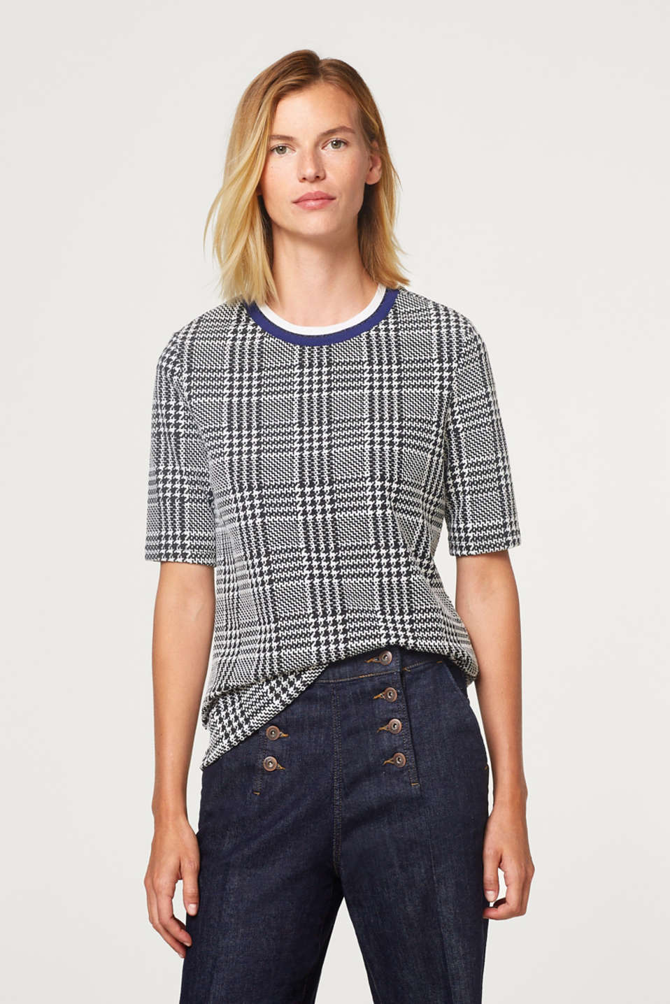 Esprit - Houndstooth top with sport stripes