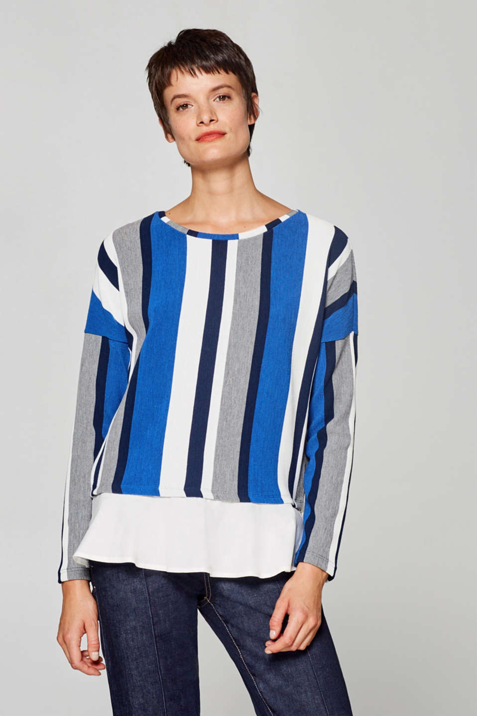 Esprit - 2-in-1 long sleeve top with cloth hem