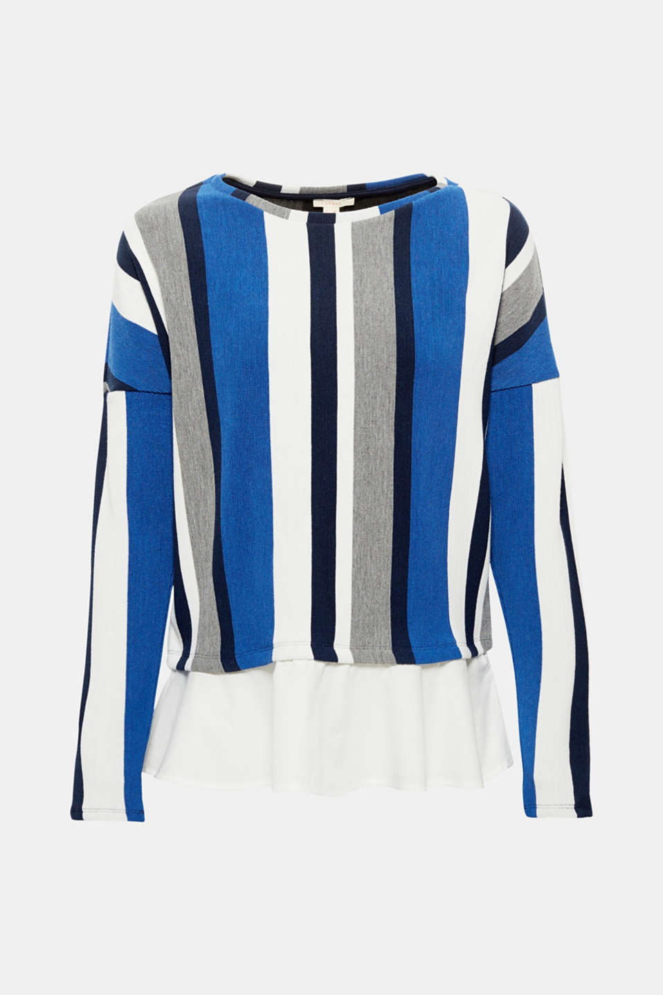 Distinctive vertical stripes, a fine texture and cloth hem give this long sleeve top made of somewhat firmer jersey with added stretch for comfort its cool look with a playful touch!