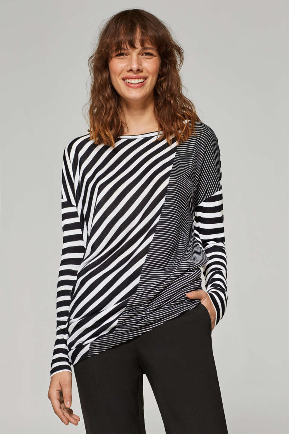 Esprit - Stripe mix jersey top