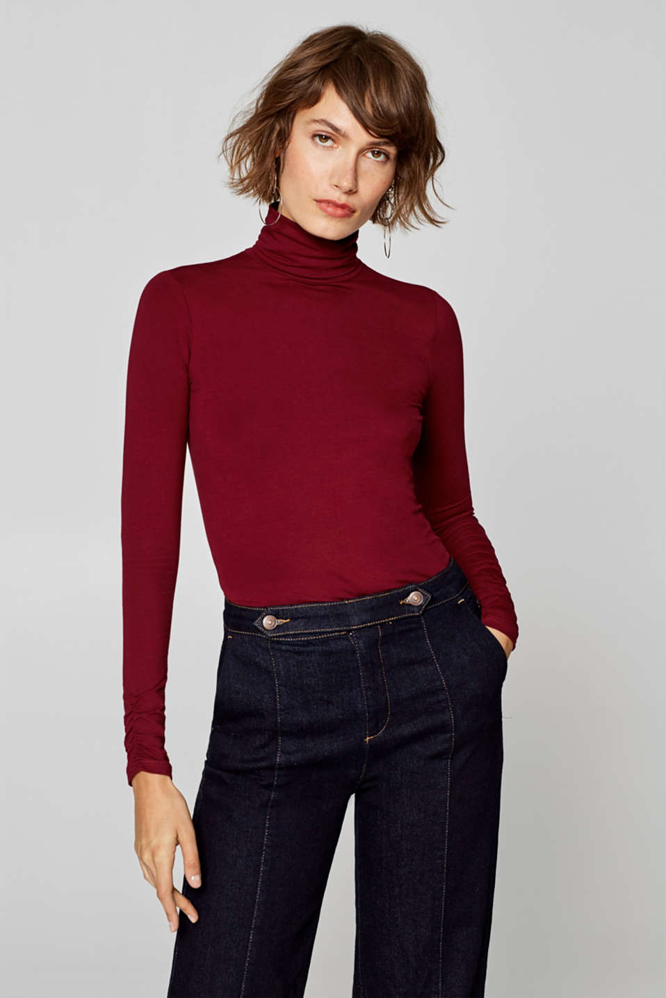 Esprit - Long sleeve top with a polo neck and gathered sleeves