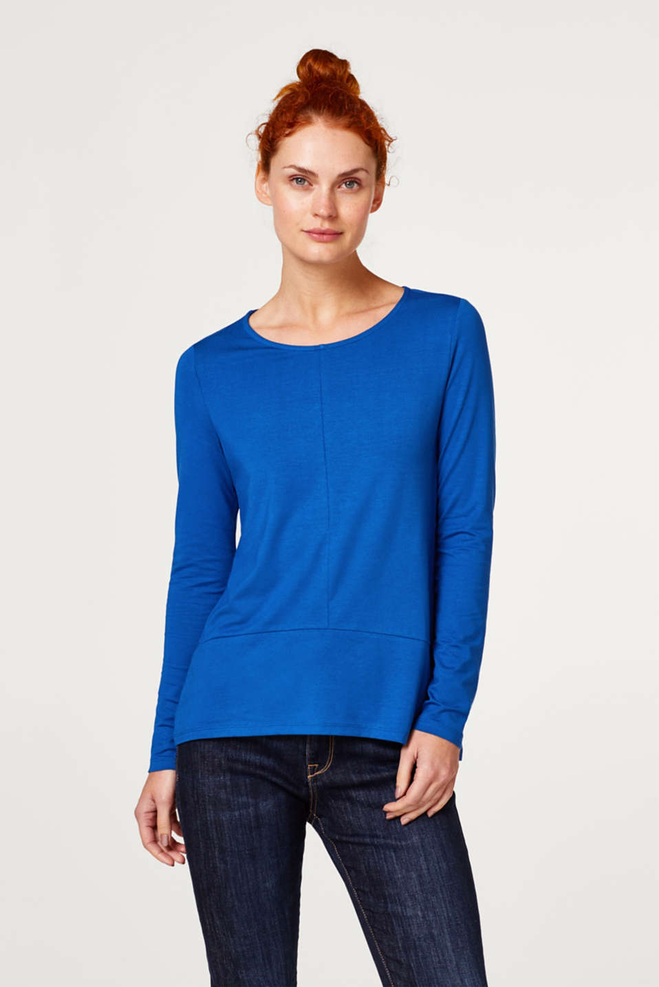 Esprit - Stretch long sleeve top with a flounce hem