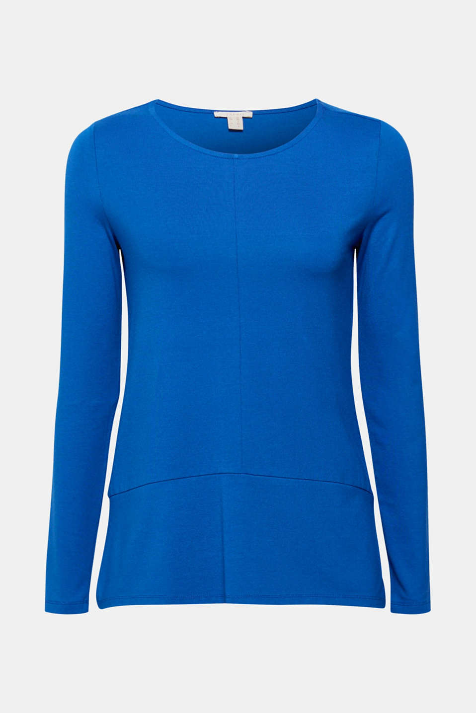 Trendy A-line cut: The set-in, slightly flared hem on this stretch long sleeve top accentuates the silhouette even further.