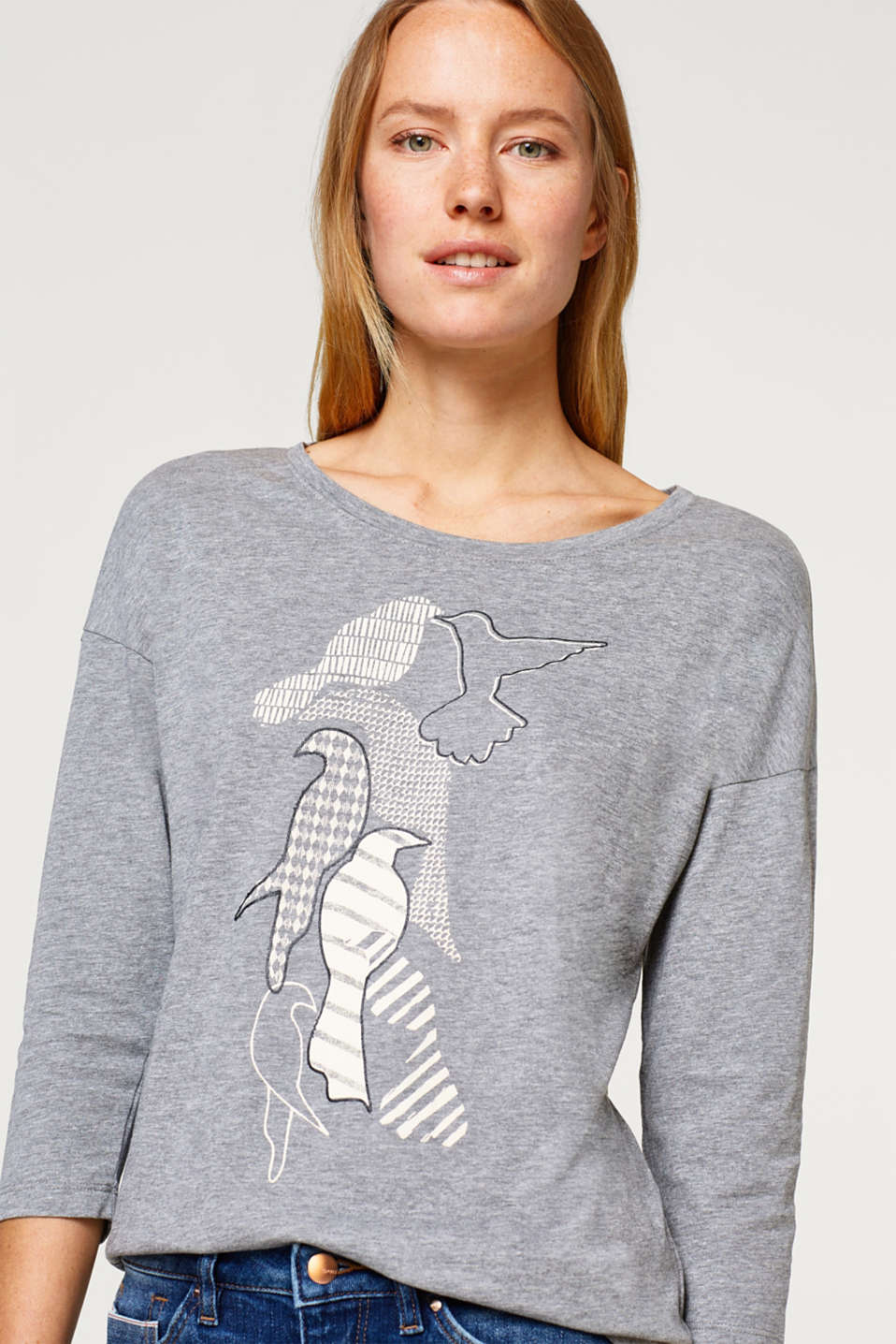 Esprit - Melange artwork top in blended cotton