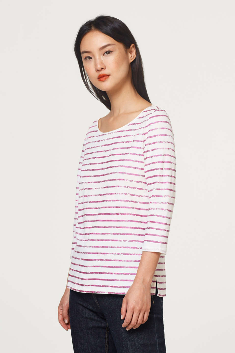 Esprit - Top with a foil stripe print, 100% cotton