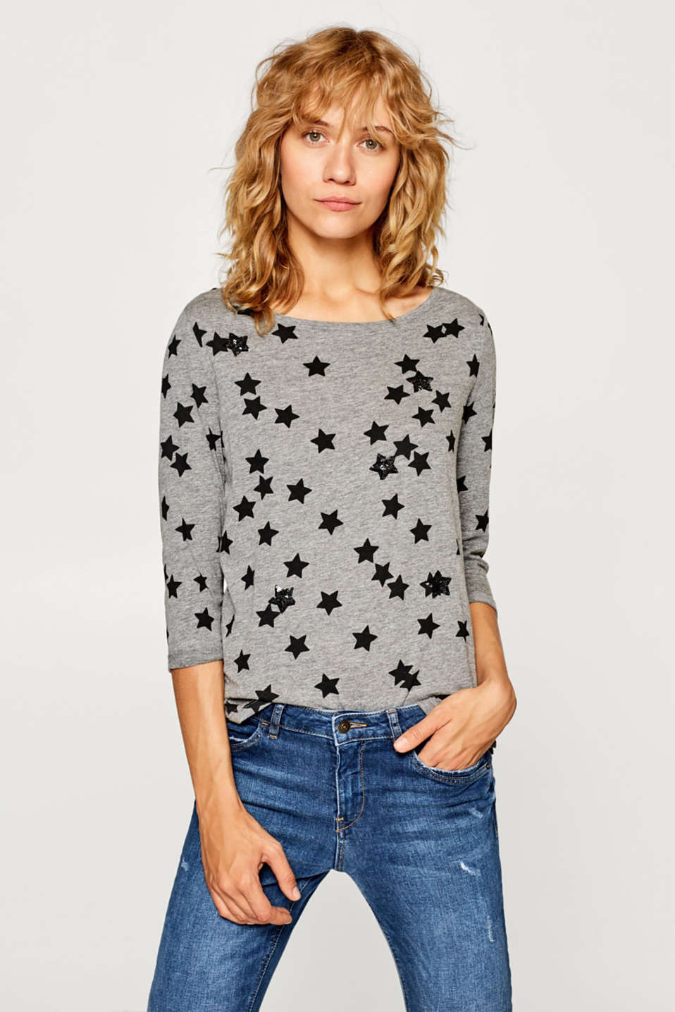Esprit - Top with a print and sequins