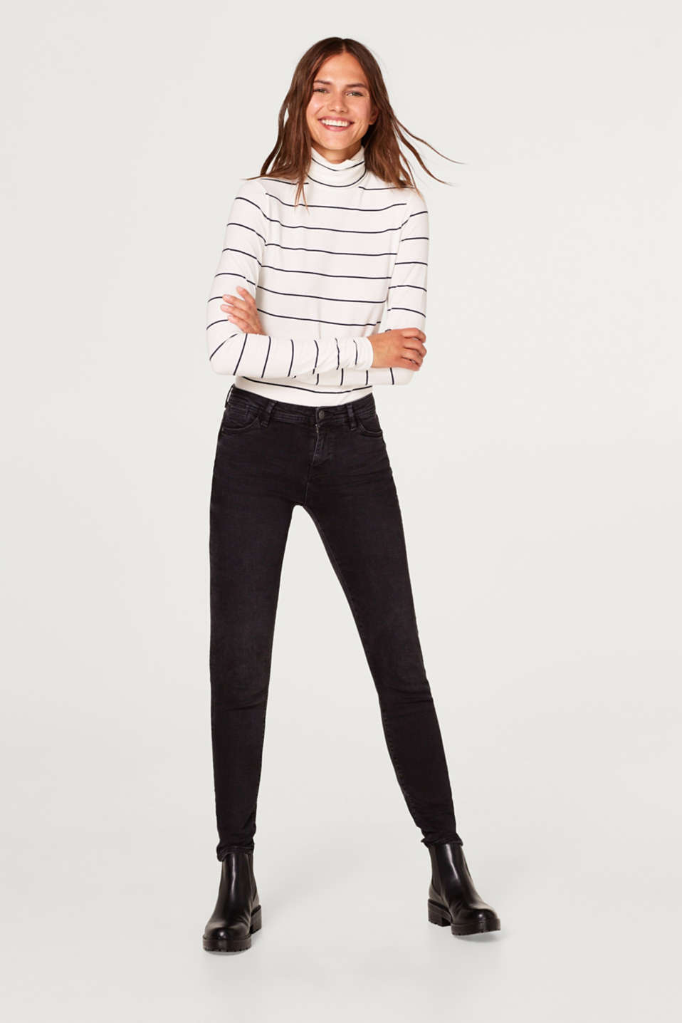 Long sleeve polo neck top in stretch cotton