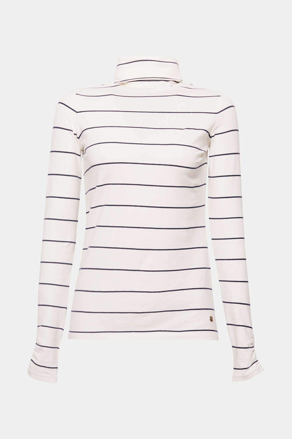 An essential with a fashionable touch: Narrow stripes and gathered sleeve cuffs give this long sleeve polo neck top in stretch cotton a special finishing touch!