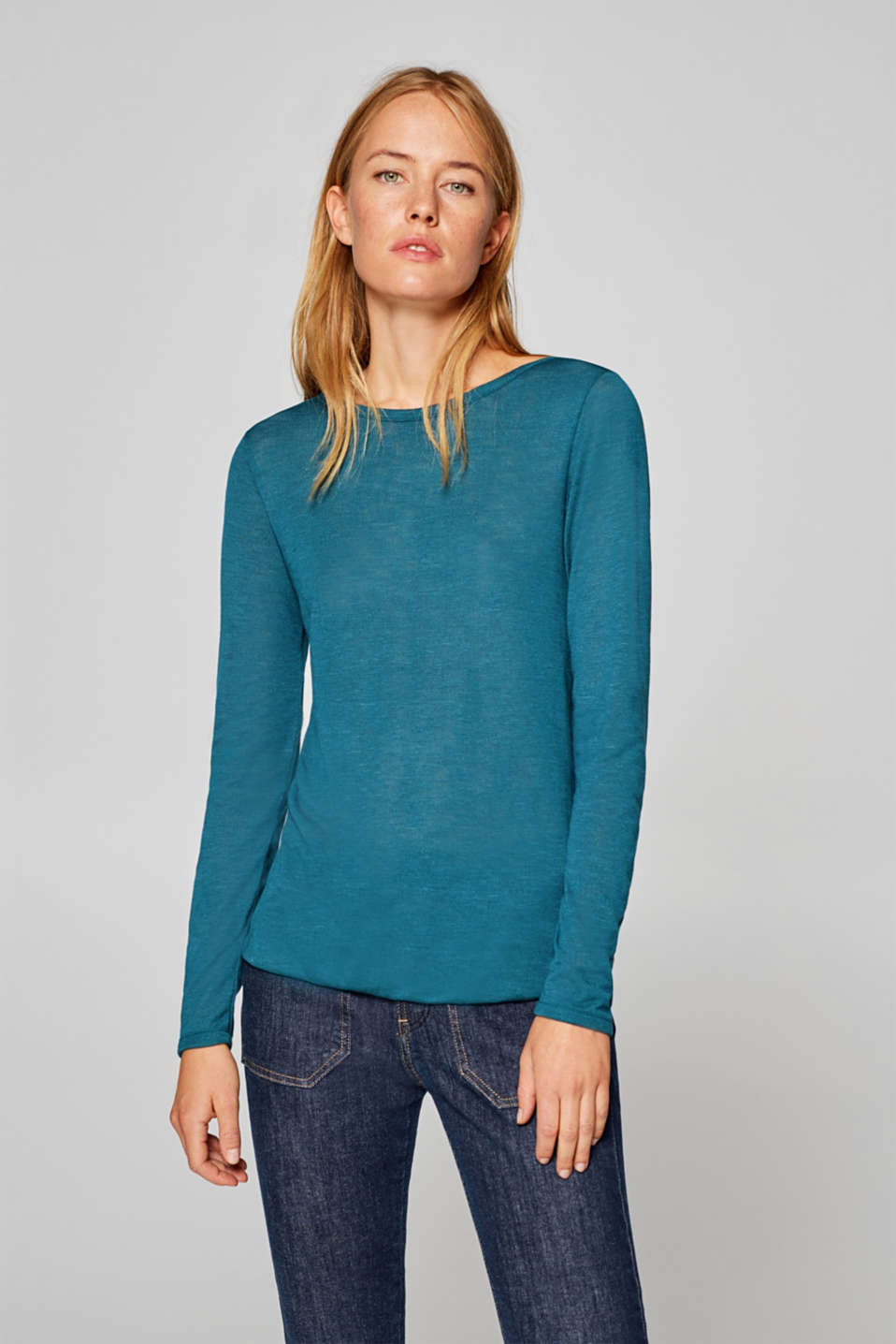 Esprit - Slub jersey long sleeve top with an elasticated hem