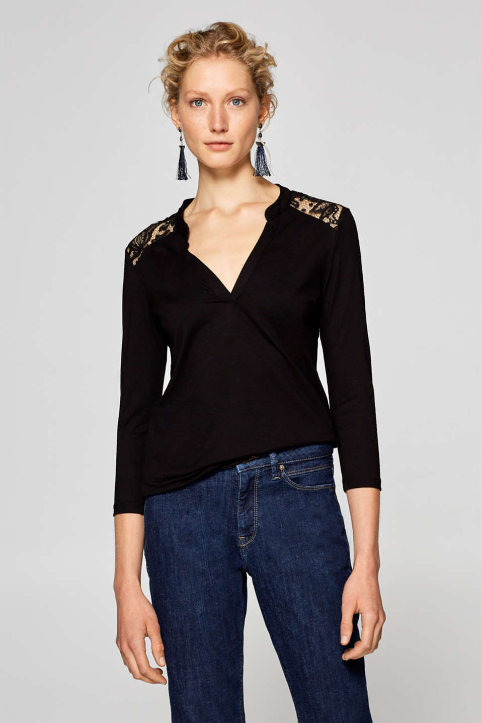 Esprit - Stretch-shirt med blondedetaljer
