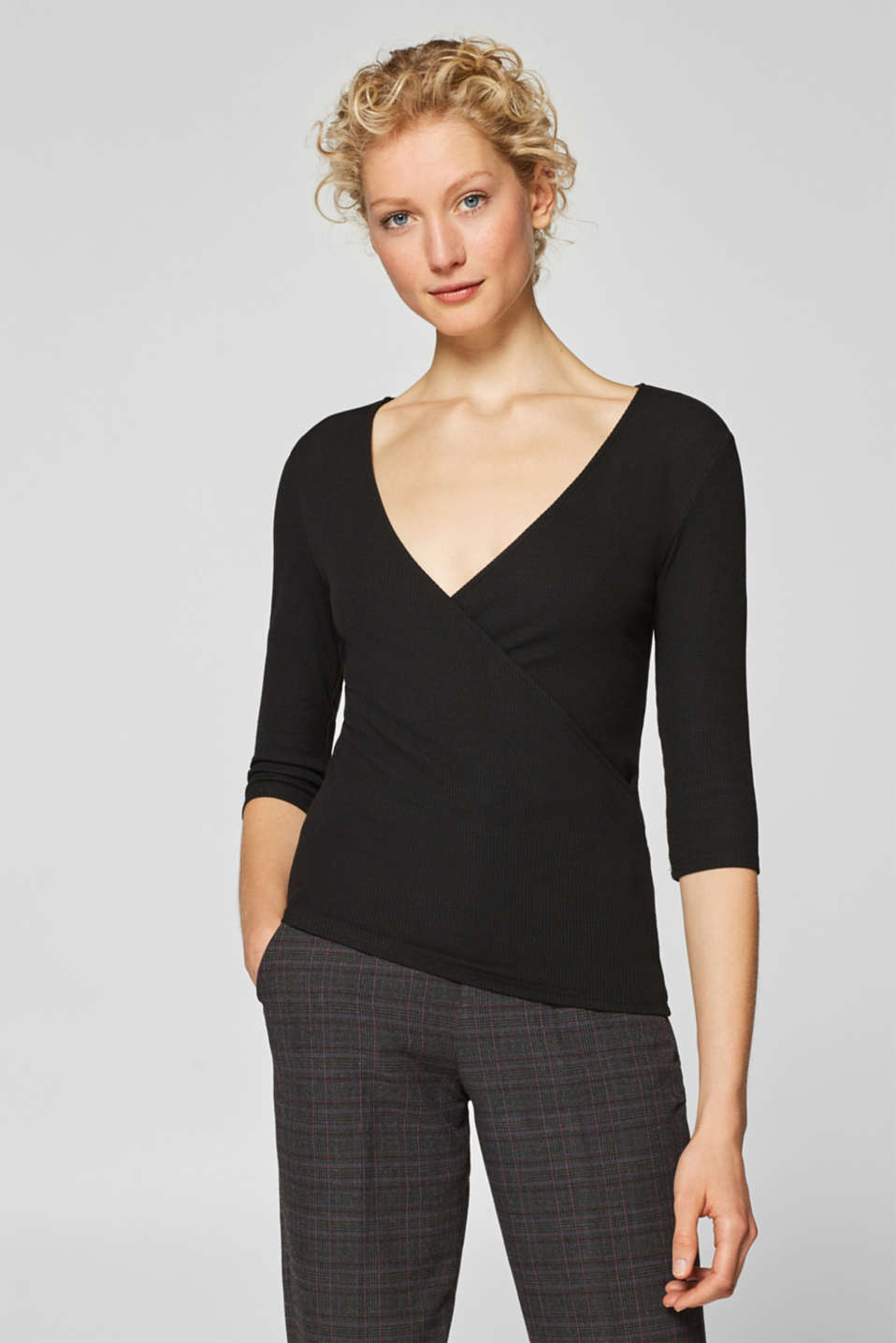 Esprit - Ribbed stretch top in a wrap-over look