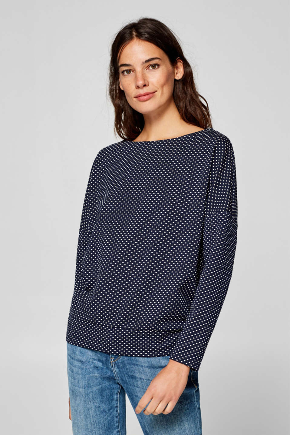 Esprit - Long sleeve stretch top with jacquard polka dots