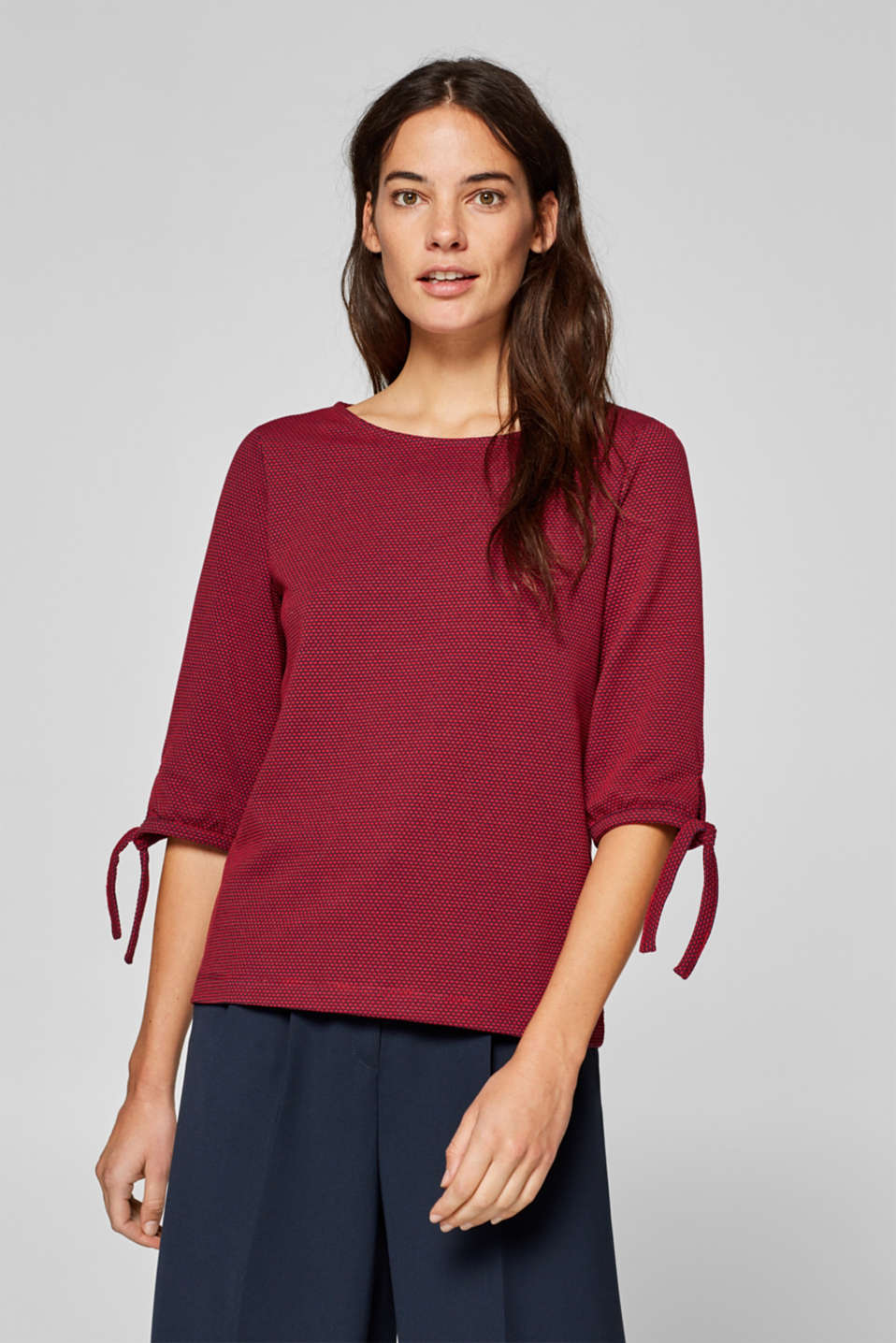 Esprit - Top with a two-tone texture and ties