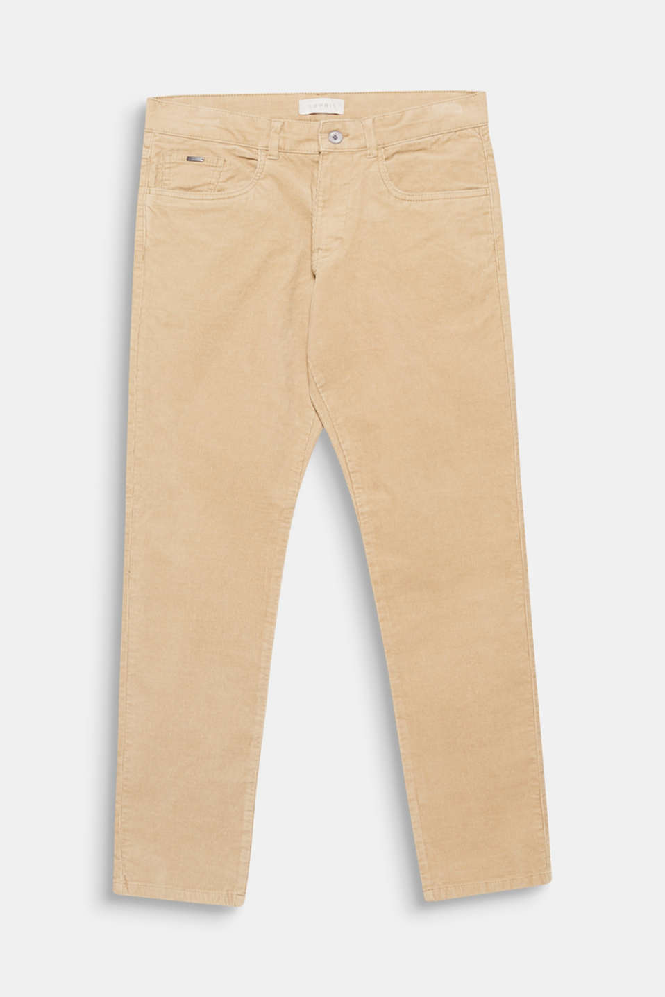 Trend: corduroy. These slim-fitting trousers made of striking cotton corduroy with added stretch for comfort are a modern trend piece for your wardrobe.