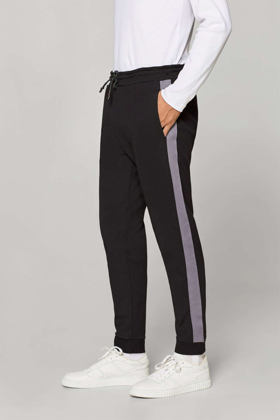 Esprit - Jersey tracksuit bottoms with tuxedo stripes
