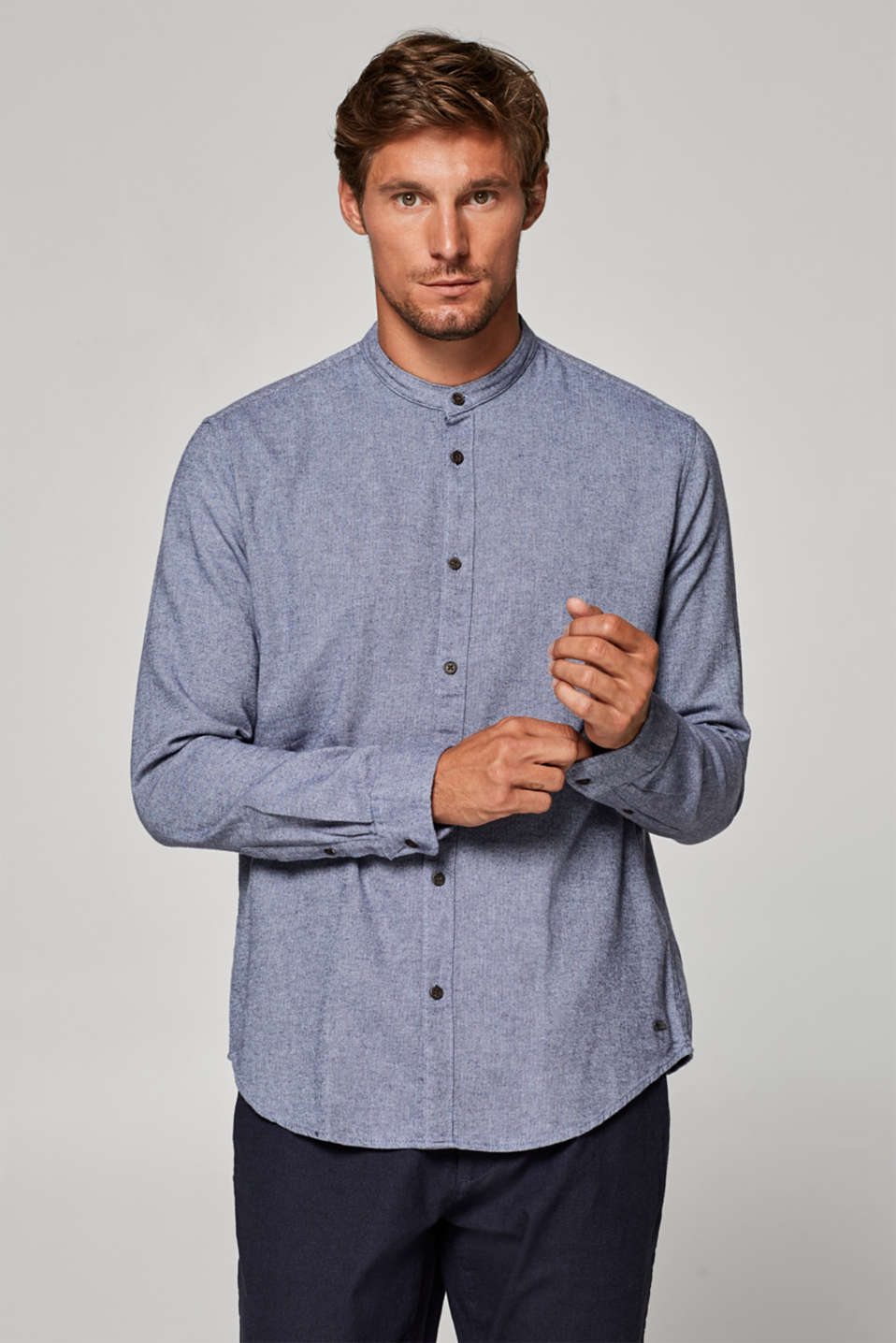 Esprit - Herringbone shirt with a band collar, 100% cotton