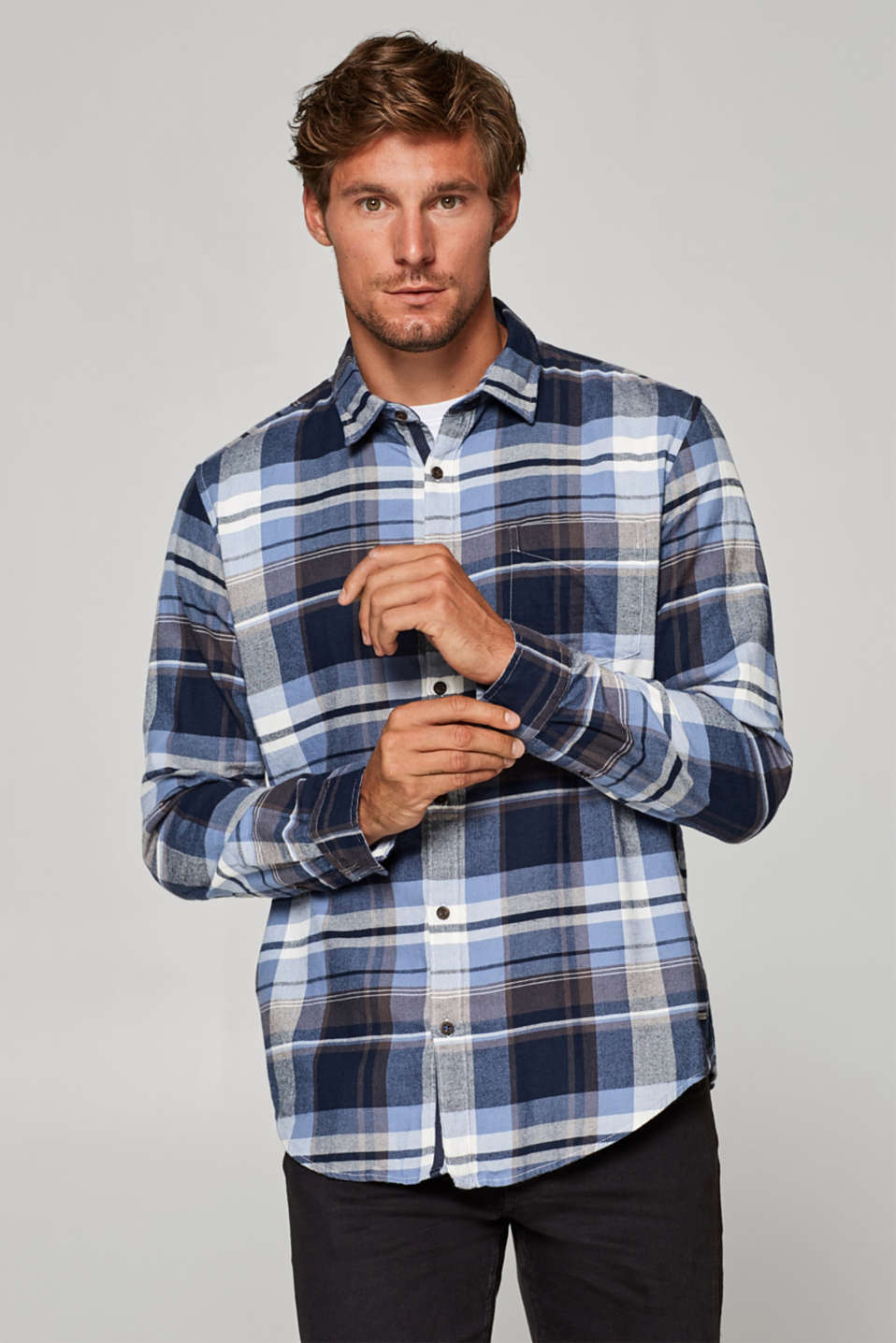 Esprit - Check flannel shirt in 100% cotton