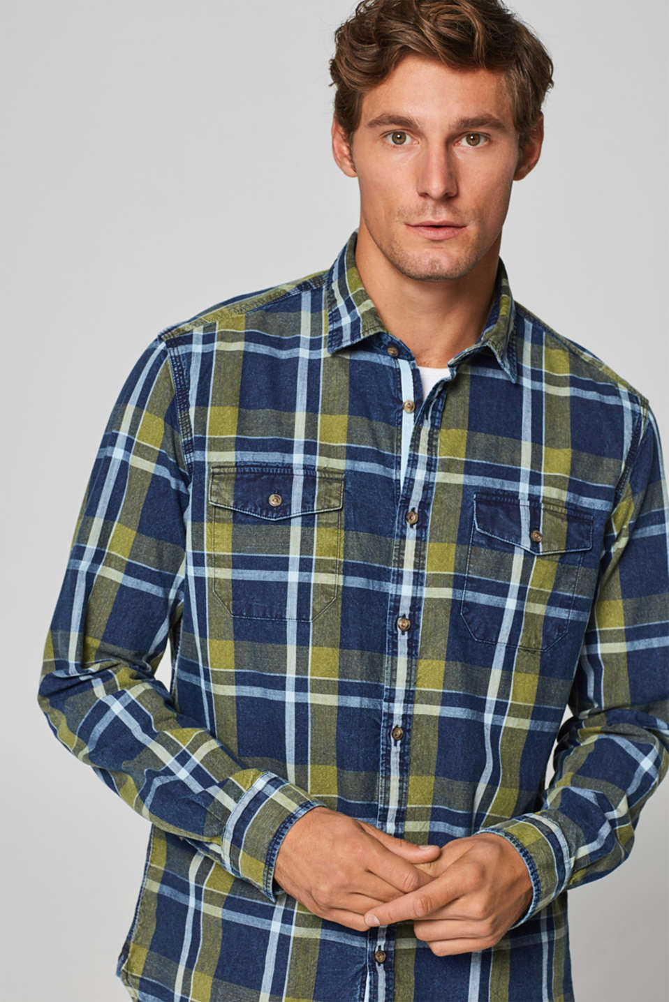 Esprit - Check chambray shirt, 100% cotton