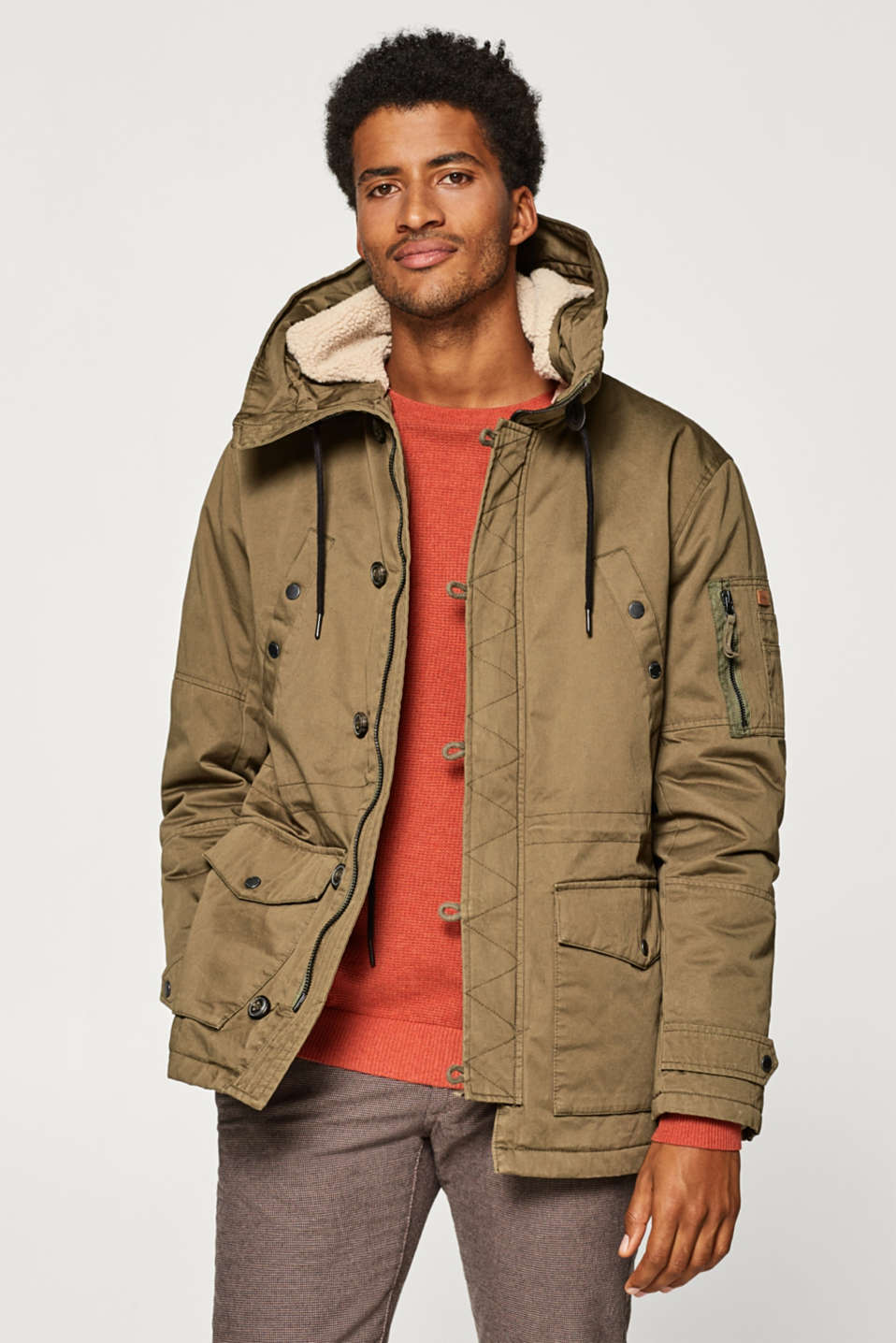 Esprit - Short parka with teddy bear fur hood, made of cotton