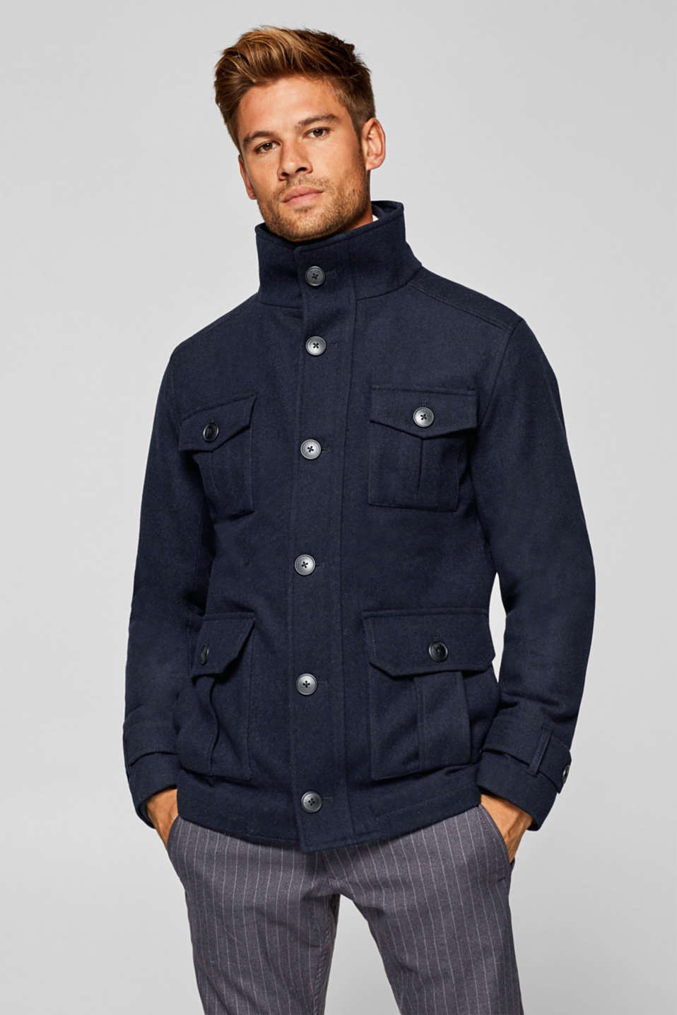Esprit - Blended wool: field jacket with a quilted inlay