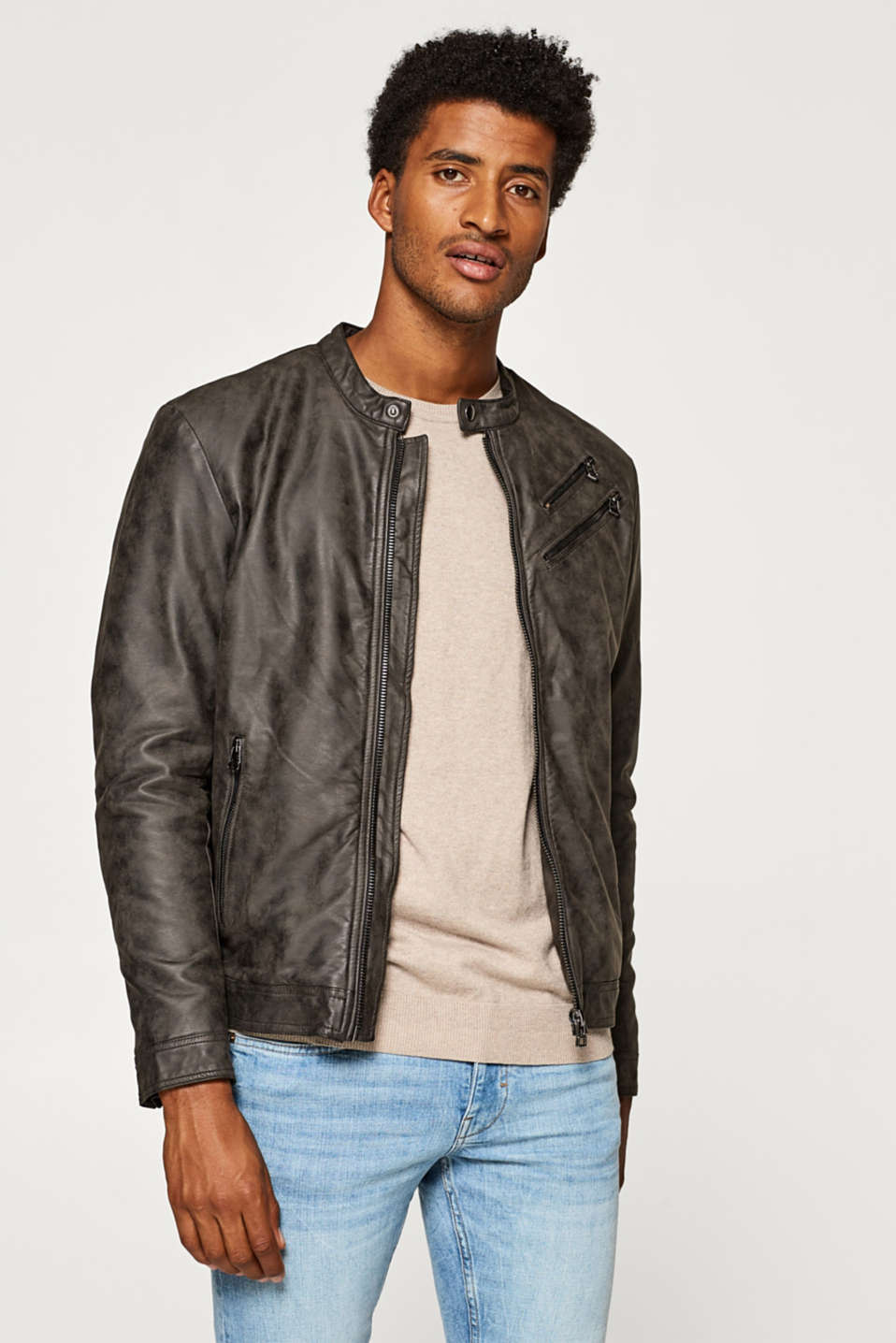 Esprit - Biker jacket in faux nubuck leather