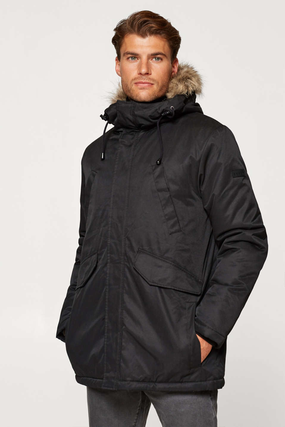 Esprit - Parka with a hood and faux fur
