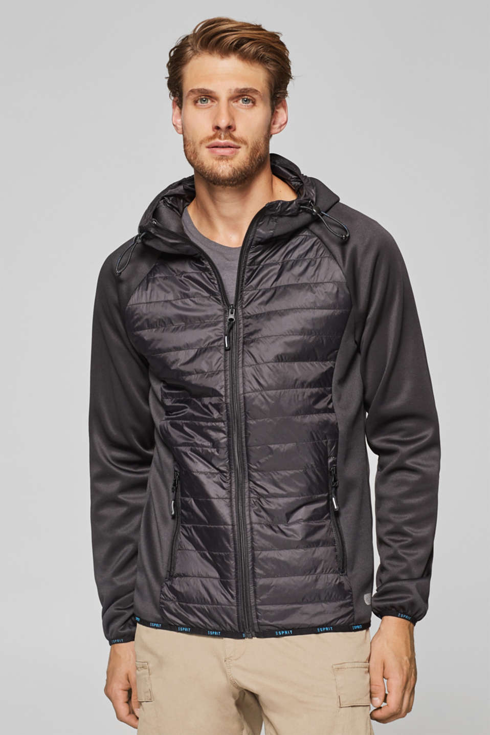 Esprit - Hooded jacket in a material blend