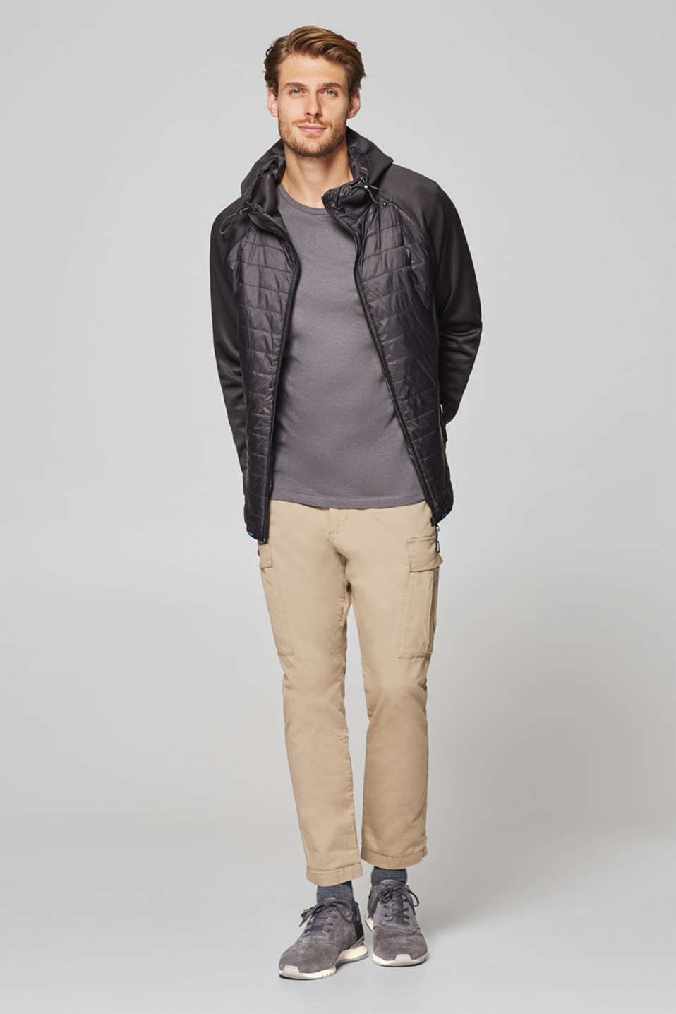 Hooded jacket in a material blend
