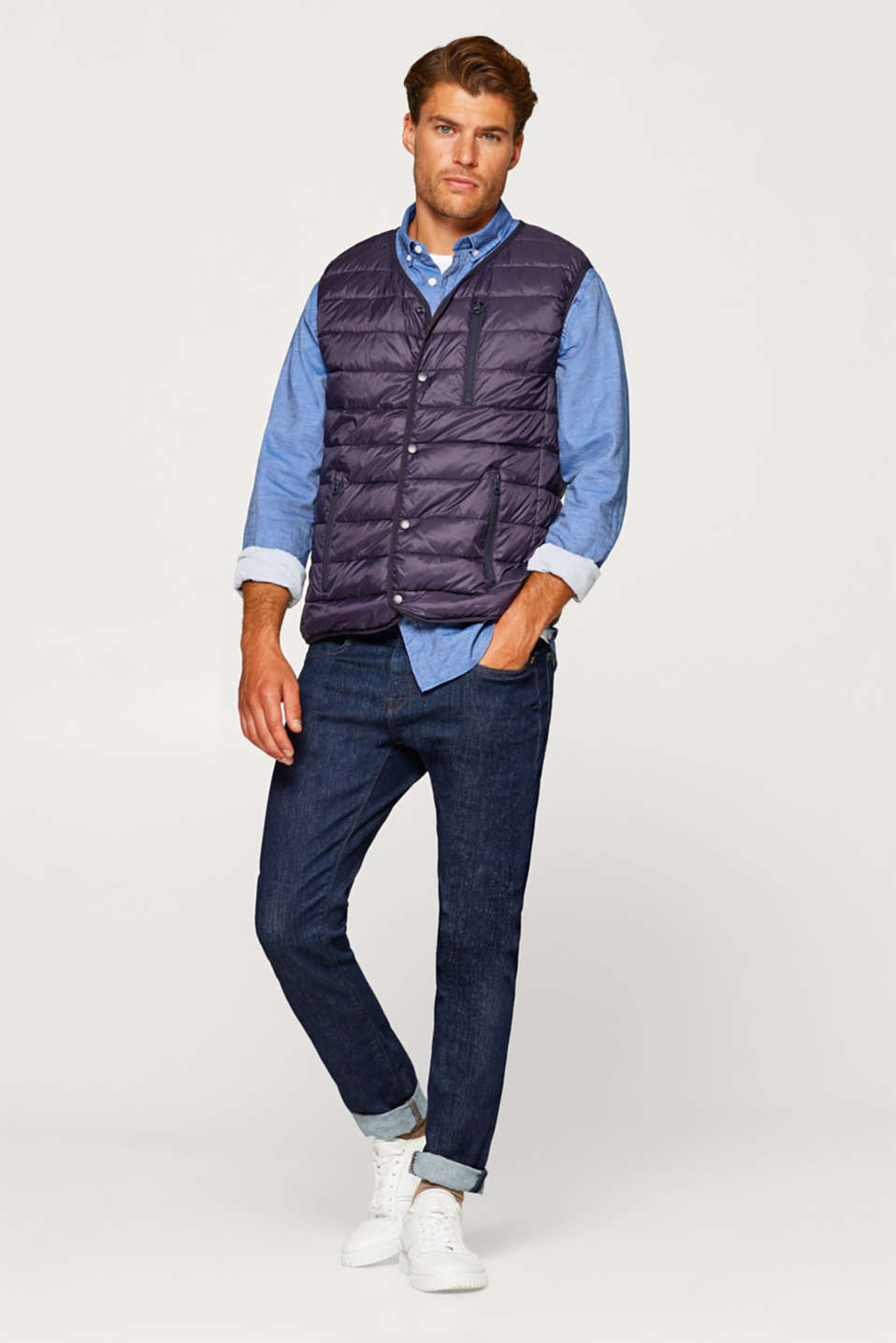 Quilted body warmer with down/feather filling