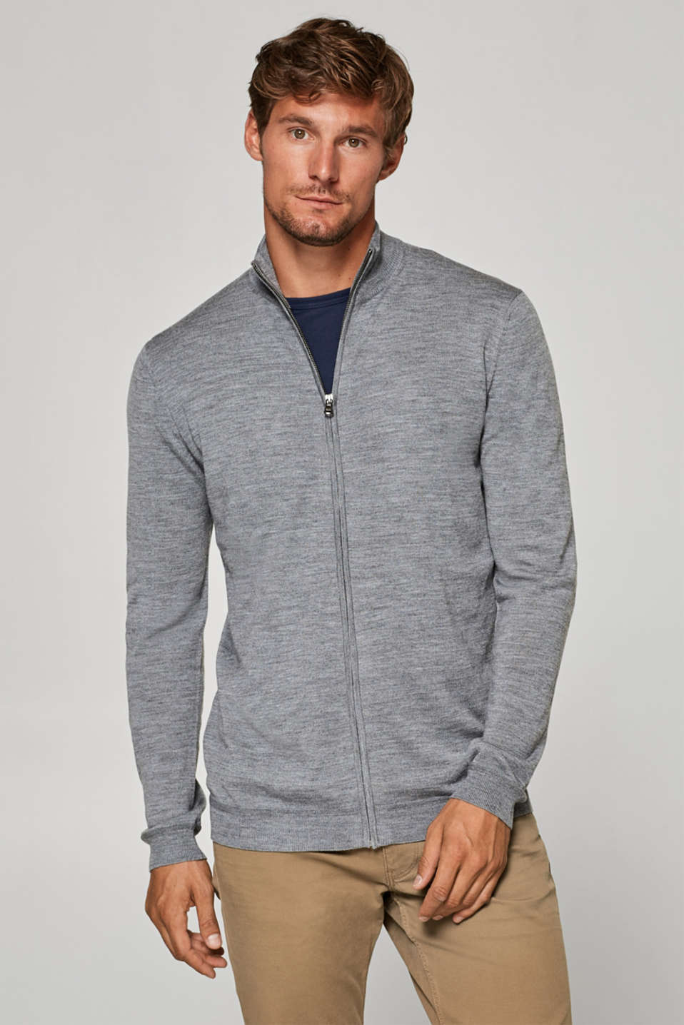 Esprit - Made of 100% wool: zip-up cardigan
