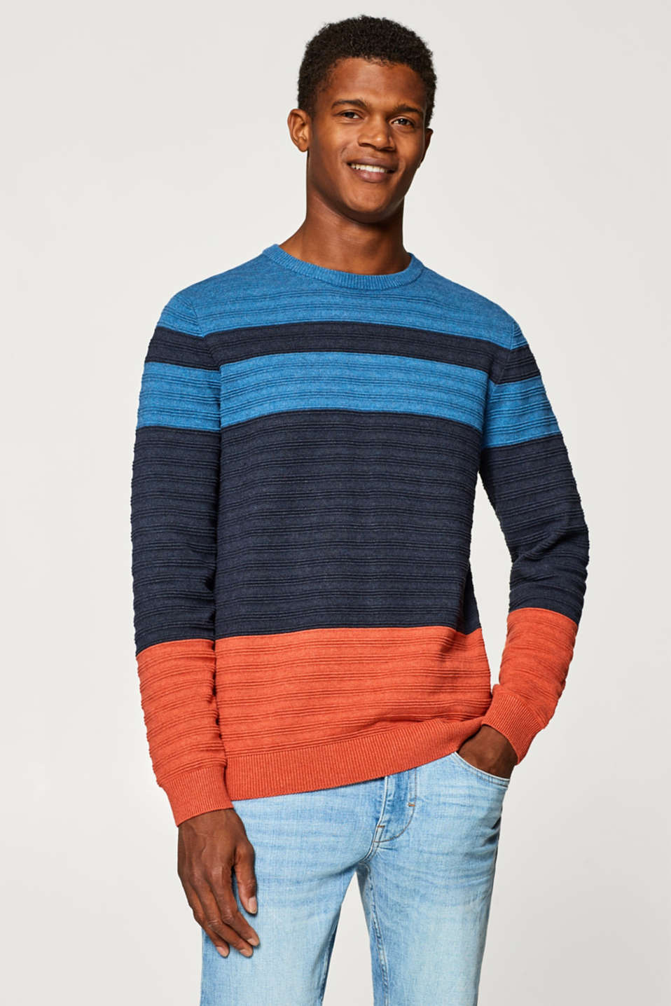 Esprit - Textured jumper in 100% cotton