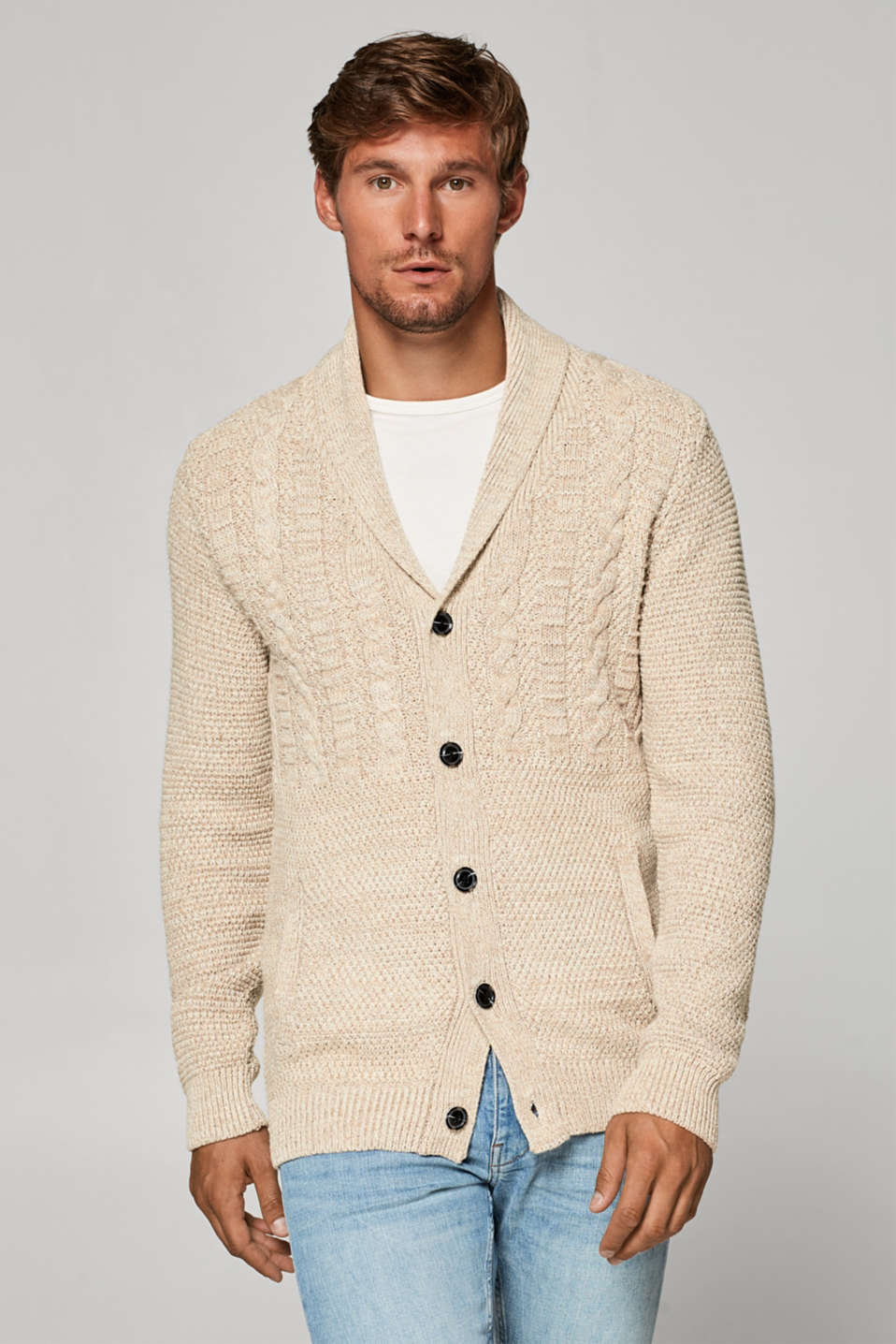 Esprit - Knit cardigan with a cable pattern