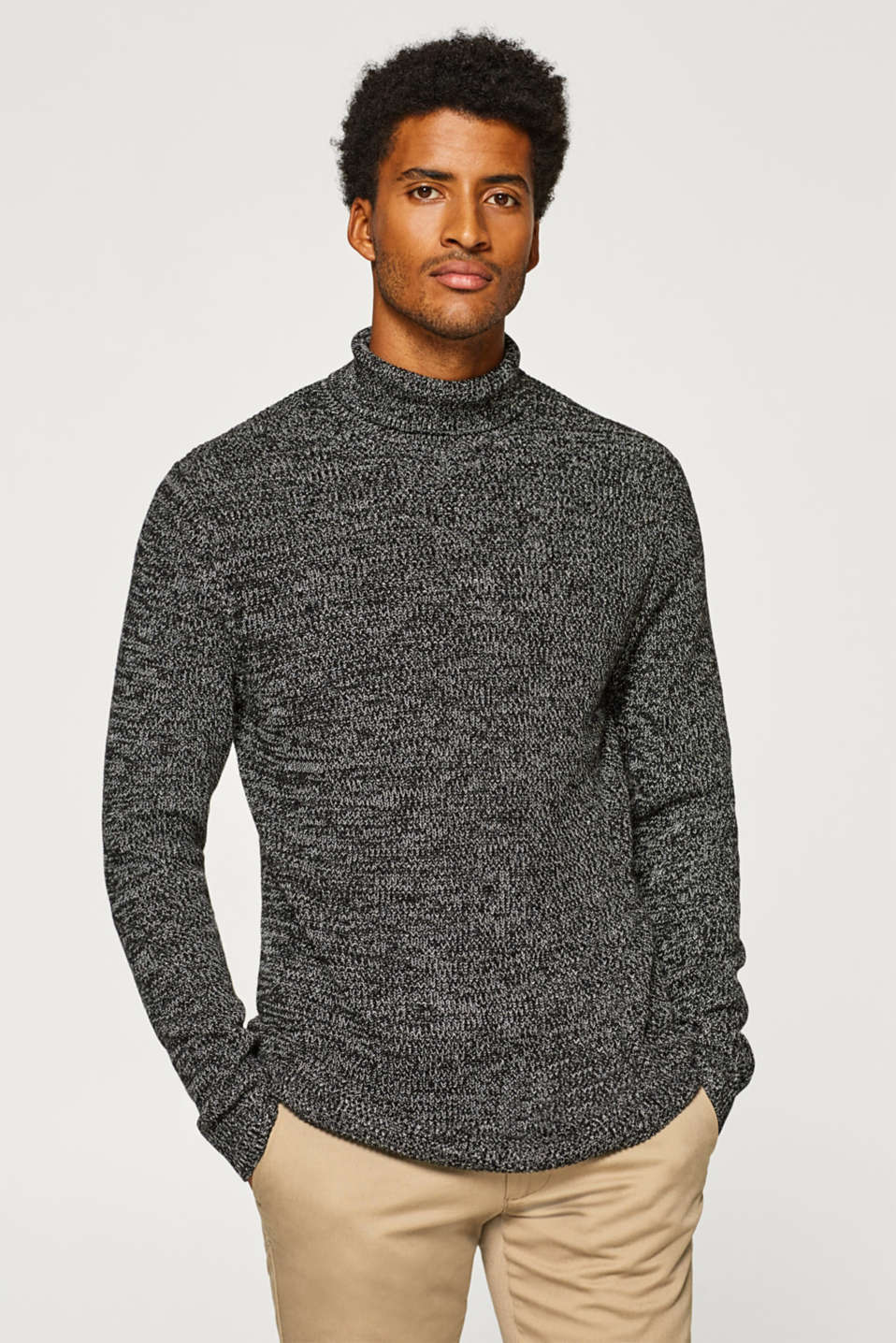 Esprit - Polo neck jumper in 100% cotton