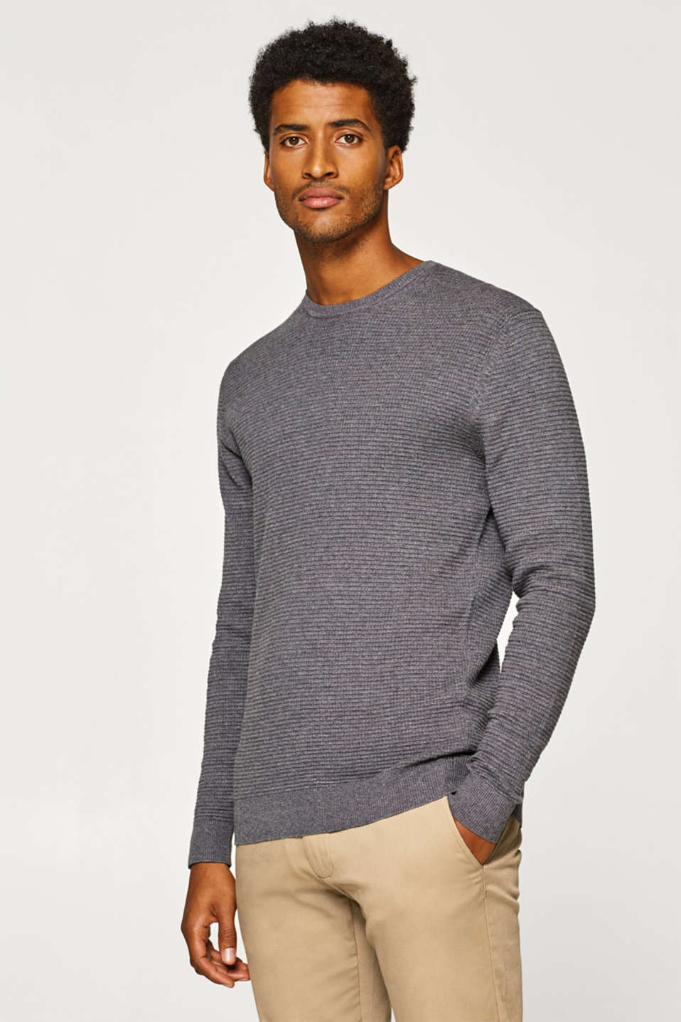 Esprit - With cashmere: textured jumper