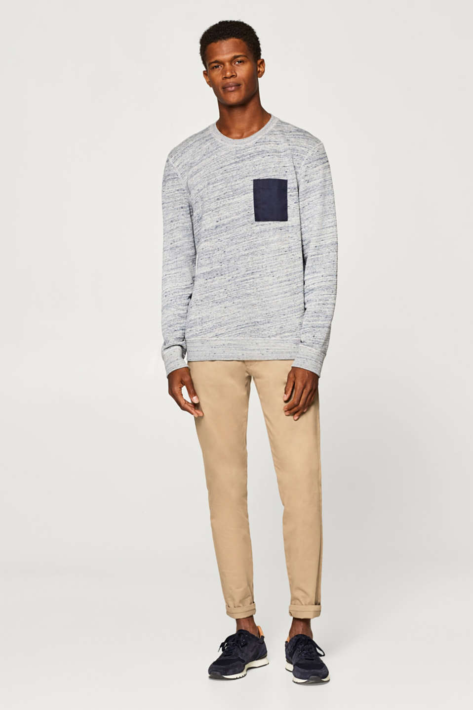 Esprit - Jumper with a breast pocket, in blended cotton